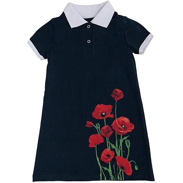 Платье АпрельПлатья и сарафаны<br>Стильное летнее платье, выполненное из тонкого хлопкового полотна. Приятное на ощупь, не сковывает движения, обеспечивая наибольший комфорт. Изделие прямого кроя с короткими рукавами, декорировано эффектным дизайнерским принтом, отложным воротничком контрастного цвета и застежкой поло. Отличный вариант для прогулки и праздника! Рекомендуется машинная стирка при температуре 40 градусов без предварительного замачивания.<br><br>Дополнительная информация: <br><br>- длина рукава: короткие<br>- вид застежки: кнопки<br>- вид бретелек: без бретелек<br>- длина изделия: по спинке: 52 см<br>- фактура материала: трикотажный<br>- длина юбки: мини<br>- тип карманов: без карманов<br>- по назначению: повседневный стиль<br>- сезон: лето<br>- пол: девочки<br>- фирма-производитель: апрель<br>- страна производитель: россия<br>- комплектация: платье<br>- цвет: темно-синий, красный, белый<br>- состав: хлопок 92%,лайкра 8%<br>- коллекция Маки<br><br>Платье коллекция Маки от торговой марки Апрель можно купить в нашем интернет-магазине.<br><br>Ширина мм: 236<br>Глубина мм: 16<br>Высота мм: 184<br>Вес г: 177<br>Цвет: темно-синий<br>Возраст от месяцев: 96<br>Возраст до месяцев: 108<br>Пол: Женский<br>Возраст: Детский<br>Размер: 134,110,128,122,116,140,146<br>SKU: 4630559