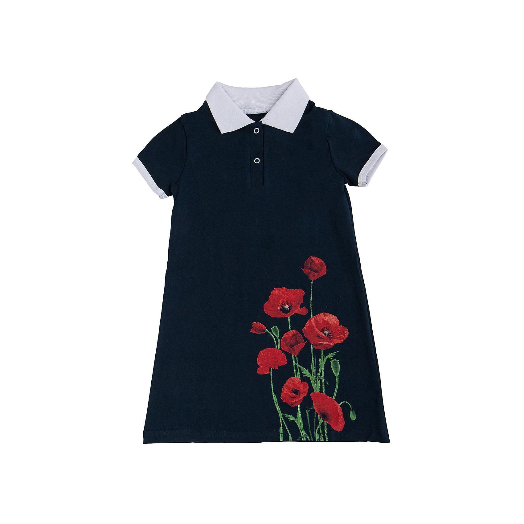 Платье АпрельПлатья и сарафаны<br>Стильное летнее платье, выполненное из тонкого хлопкового полотна. Приятное на ощупь, не сковывает движения, обеспечивая наибольший комфорт. Изделие прямого кроя с короткими рукавами, декорировано эффектным дизайнерским принтом, отложным воротничком контрастного цвета и застежкой поло. Отличный вариант для прогулки и праздника! Рекомендуется машинная стирка при температуре 40 градусов без предварительного замачивания.<br><br>Дополнительная информация: <br><br>- длина рукава: короткие<br>- вид застежки: кнопки<br>- вид бретелек: без бретелек<br>- длина изделия: по спинке: 52 см<br>- фактура материала: трикотажный<br>- длина юбки: мини<br>- тип карманов: без карманов<br>- по назначению: повседневный стиль<br>- сезон: лето<br>- пол: девочки<br>- фирма-производитель: апрель<br>- страна производитель: россия<br>- комплектация: платье<br>- цвет: темно-синий, красный, белый<br>- состав: хлопок 92%,лайкра 8%<br>- коллекция Маки<br><br>Платье коллекция Маки от торговой марки Апрель можно купить в нашем интернет-магазине.<br><br>Ширина мм: 236<br>Глубина мм: 16<br>Высота мм: 184<br>Вес г: 177<br>Цвет: темно-синий<br>Возраст от месяцев: 96<br>Возраст до месяцев: 108<br>Пол: Женский<br>Возраст: Детский<br>Размер: 134,110,146,140,116,122,128<br>SKU: 4630559