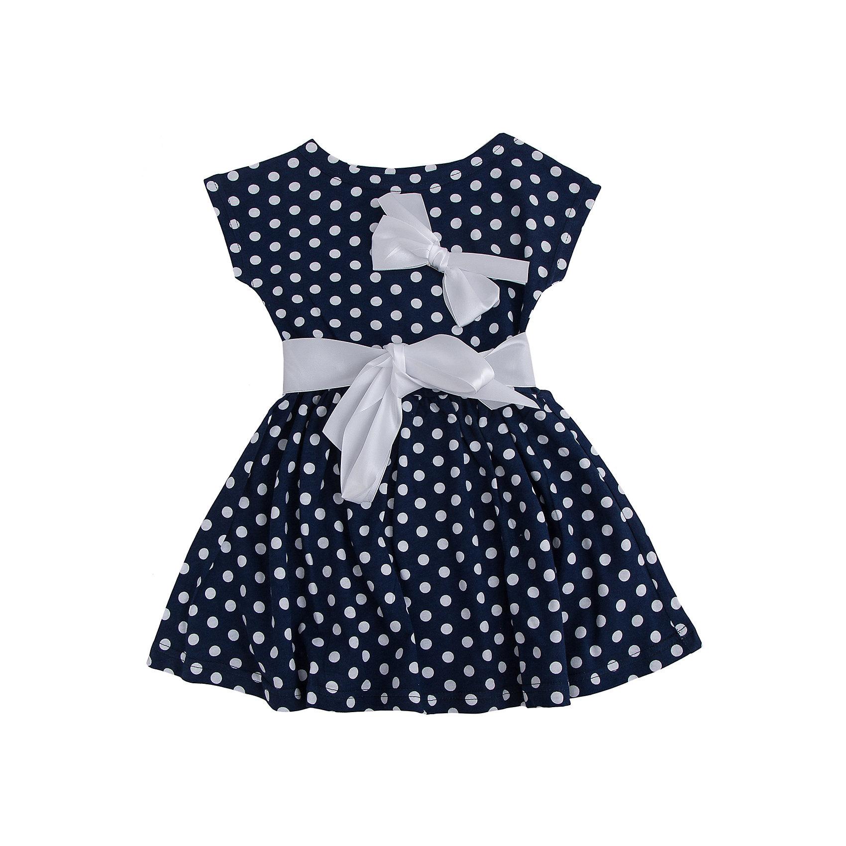 Платье АпрельПлатья и сарафаны<br>Стильное платье с короткими рукавами из хлопка, горох на синем с белым пояском и бантиком привлечет внимание окружающих. Приятное к телу, подарит комфорт в жаркое лето. Отличный вариант для летней прогулки, а аксессуары завершат образ.<br><br>Дополнительная информация: <br><br>- состав: 92% хлопок, 8% лайкра.<br>- уход: ручная или машинная стирка при температуре не более 40°с.<br>- цвет: белый, синий<br>- вырез горловины: округлый вырез<br>- декоративные элементы: банты<br>- длина изделия: по спинке: 57 см; до талии: 22 см<br>- ширина рукава короткие: пройма: 11 см<br>- вид застежки: без застежки<br>- особенности ткани: мягкая<br>- материал подкладки: хлопок<br>- сезон: лето<br>- пол: девочки<br>- фирма-производитель: Апрель<br>- страна бренда: Россия<br>- комплектация: пояс, платье, бант<br><br>Платье  от торговой марки Апрель можно купить в нашем интернет-магазине.<br><br>Ширина мм: 236<br>Глубина мм: 16<br>Высота мм: 184<br>Вес г: 177<br>Цвет: разноцветный<br>Возраст от месяцев: 60<br>Возраст до месяцев: 72<br>Пол: Женский<br>Возраст: Детский<br>Размер: 116,104,98,134,140,128,122,110<br>SKU: 4630586