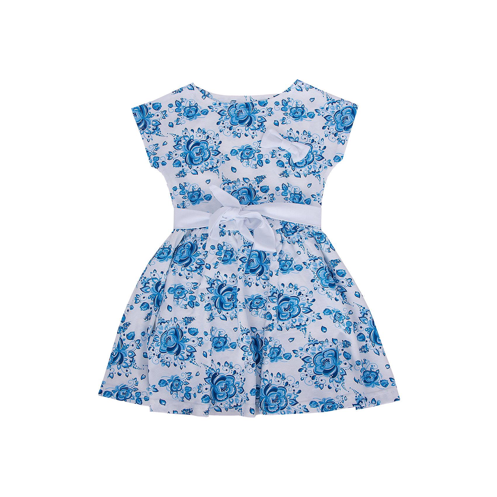 Платье АпрельОчаровательное платьишко из мягкого хлопка. Приятное на ощупь, не сковывает движения, обеспечивая наибольший комфорт. Изделие без рукавов, для придания элегантного силуэта по линии талии вставлена резинка, декорировано дизайнерской набивкой. Контрастный пояс и съемная брошь-бантик прекрасно завершат образ. Отличный вариант для маленькой модницы как на праздник, так и на каждый день! Рекомендуется деликатная машинная стирка без предварительного замачивания. Состав: 100% хлопок<br><br>Ширина мм: 236<br>Глубина мм: 16<br>Высота мм: 184<br>Вес г: 177<br>Цвет: синий<br>Возраст от месяцев: 84<br>Возраст до месяцев: 96<br>Пол: Женский<br>Возраст: Детский<br>Размер: 128,110,140,98,134,122,116,104<br>SKU: 4630609