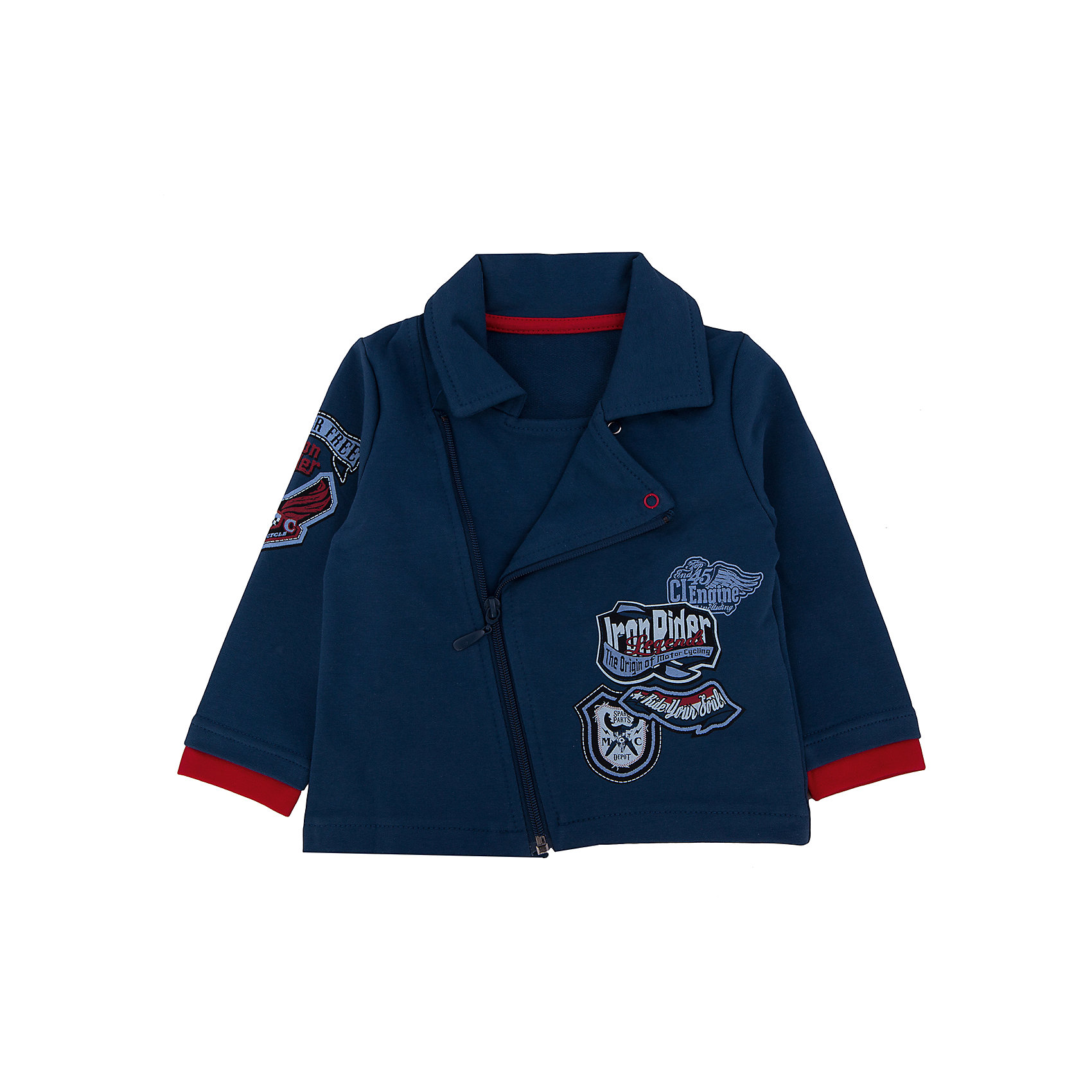 Куртка для мальчика АпрельОригинальная куртка из мягкого хлопка. Приятная на ощупь, не сковывает движения, обеспечивая наибольший комфорт. Изделие с длинными рукавами и отложным воротничком, застегивается на косую молнию по принципу косухи, украшен дизайнерским брутальным принтом. Индивидуальный дизайн и модная расцветка делают этот комплект незаменимым предметом детского гардероба. Состав: 95% хлопок, 5% лайкра<br><br>Ширина мм: 356<br>Глубина мм: 10<br>Высота мм: 245<br>Вес г: 519<br>Цвет: синий<br>Возраст от месяцев: 6<br>Возраст до месяцев: 9<br>Пол: Мужской<br>Возраст: Детский<br>Размер: 74,80<br>SKU: 4630890