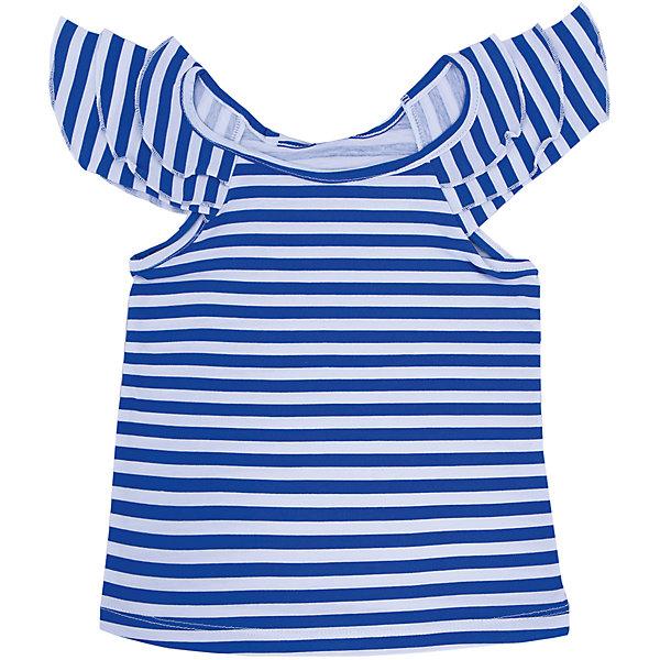 Топ для девочки DAUBERФутболки, поло и топы<br>Футболка для девочки с коротким рукавом из высококачественного хлопка, сине-белая полоска. На рукавах оборки (валаны). Состав:100% хлопок<br><br>Ширина мм: 199<br>Глубина мм: 10<br>Высота мм: 161<br>Вес г: 151<br>Цвет: белый<br>Возраст от месяцев: 48<br>Возраст до месяцев: 60<br>Пол: Женский<br>Возраст: Детский<br>Размер: 110,104,98,116<br>SKU: 4631061