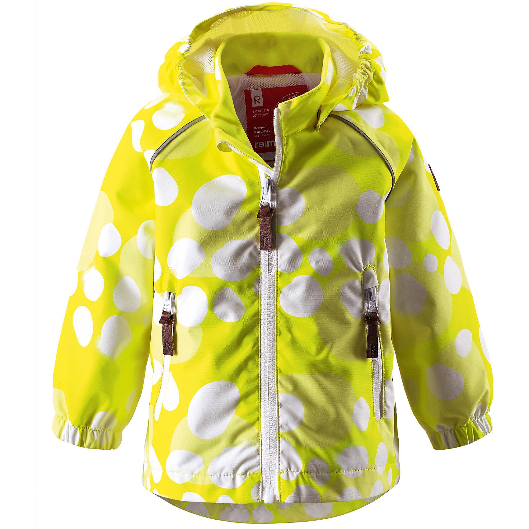 Куртка для девочки ReimaКуртка от финской марки Reima.<br>*Куртка демисезонная для малышей*Основные швы проклеены и не пропускают влагу*Водоотталкивающий, ветронепроницаемый, «дышащий» и грязеотталкивающий материал*Подкладка из mesh-сетки*Безопасный, съемный капюшон*Два кармана на молнии*Безопасные светоотражающие детали<br>Состав:<br>100% ПЭ, ПУ-покрытие<br><br>Ширина мм: 356<br>Глубина мм: 10<br>Высота мм: 245<br>Вес г: 519<br>Цвет: желтый<br>Возраст от месяцев: 18<br>Возраст до месяцев: 24<br>Пол: Женский<br>Возраст: Детский<br>Размер: 92,86,98,74,80<br>SKU: 4631317