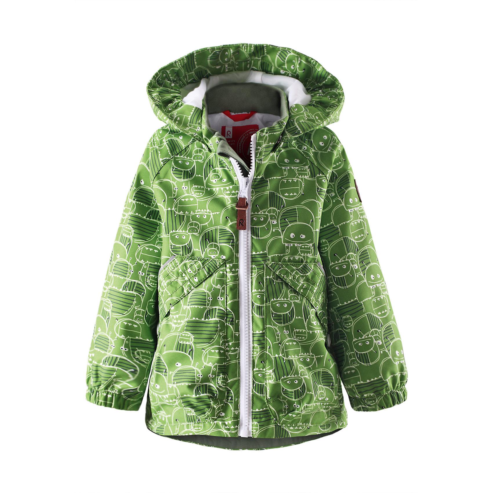Куртка ReimaКуртка от финской марки Reima.<br>*Куртка демисезонная для малышей*Основные швы проклеены и не пропускают влагу*Водоотталкивающий, ветронепроницаемый и «дышащий» материал*Гладкая подкладка из полиэстра*Безопасный, съемный капюшон*Два кармана с клапанами*Безопасные светоотражающие детали<br>Состав:<br>100% ПЭ, ПУ-покрытие<br><br>Ширина мм: 531<br>Глубина мм: 401<br>Высота мм: 68<br>Вес г: 338<br>Цвет: зеленый<br>Возраст от месяцев: 9<br>Возраст до месяцев: 12<br>Пол: Унисекс<br>Возраст: Детский<br>Размер: 80,98,92,86<br>SKU: 4631333