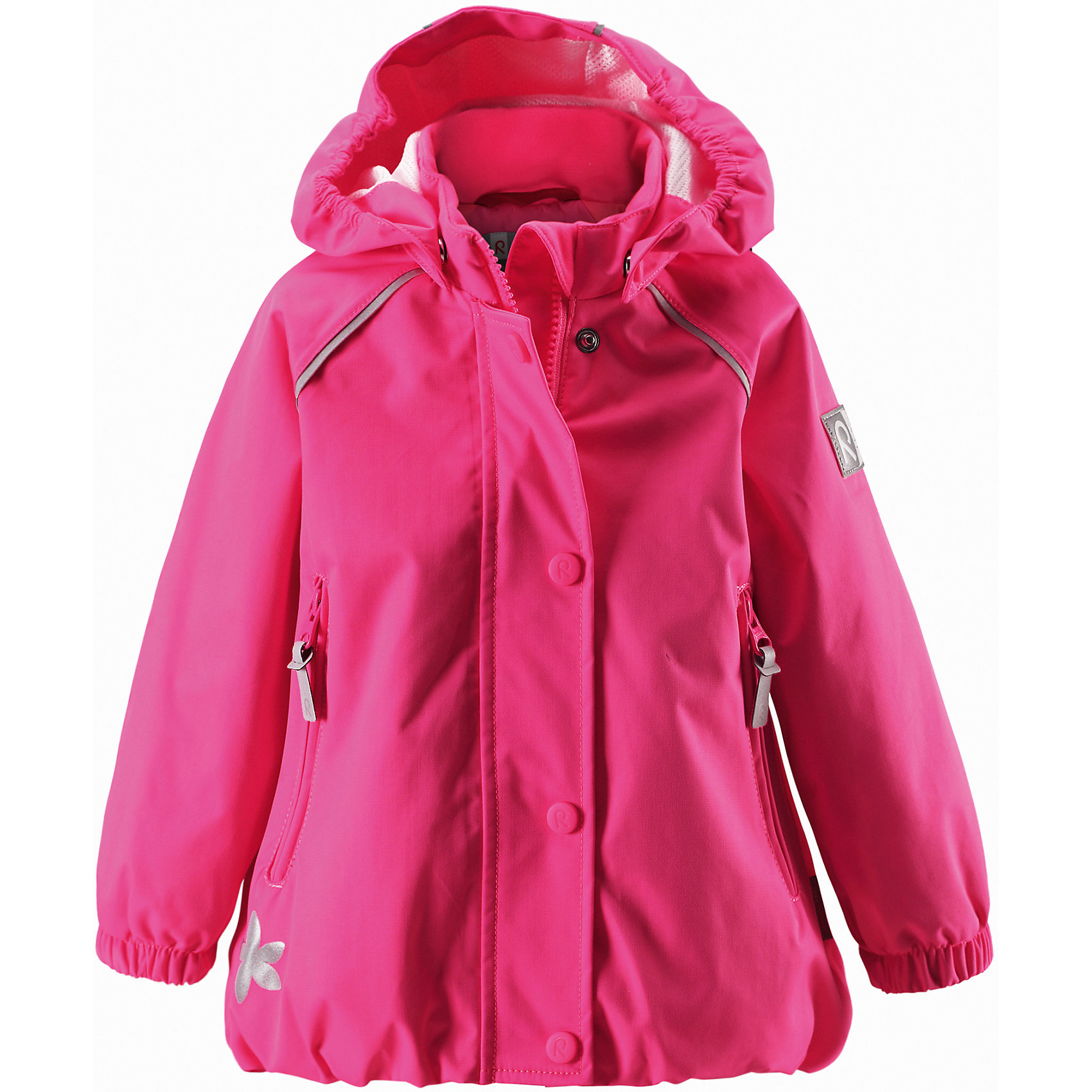Куртка для девочки ReimaОдежда<br>Куртка Reimatec от финской марки Reima.<br>*Куртка демисезонная для малышей*Все швы проклеены и водонепроницаемы*Водо- и ветронепроницаемый, «дышащий» и грязеотталкивающий материал*Подкладка из mesh-сетки*Безопасный, съемный капюшон*Регулируемый подол*Два кармана на молнии*Безопасные светоотражающие детали<br>Состав:<br>100% ПА, ПУ-покрытие<br><br>Ширина мм: 356<br>Глубина мм: 10<br>Высота мм: 245<br>Вес г: 519<br>Цвет: розовый<br>Возраст от месяцев: 18<br>Возраст до месяцев: 24<br>Пол: Женский<br>Возраст: Детский<br>Размер: 74,98,86,80,92<br>SKU: 4631338
