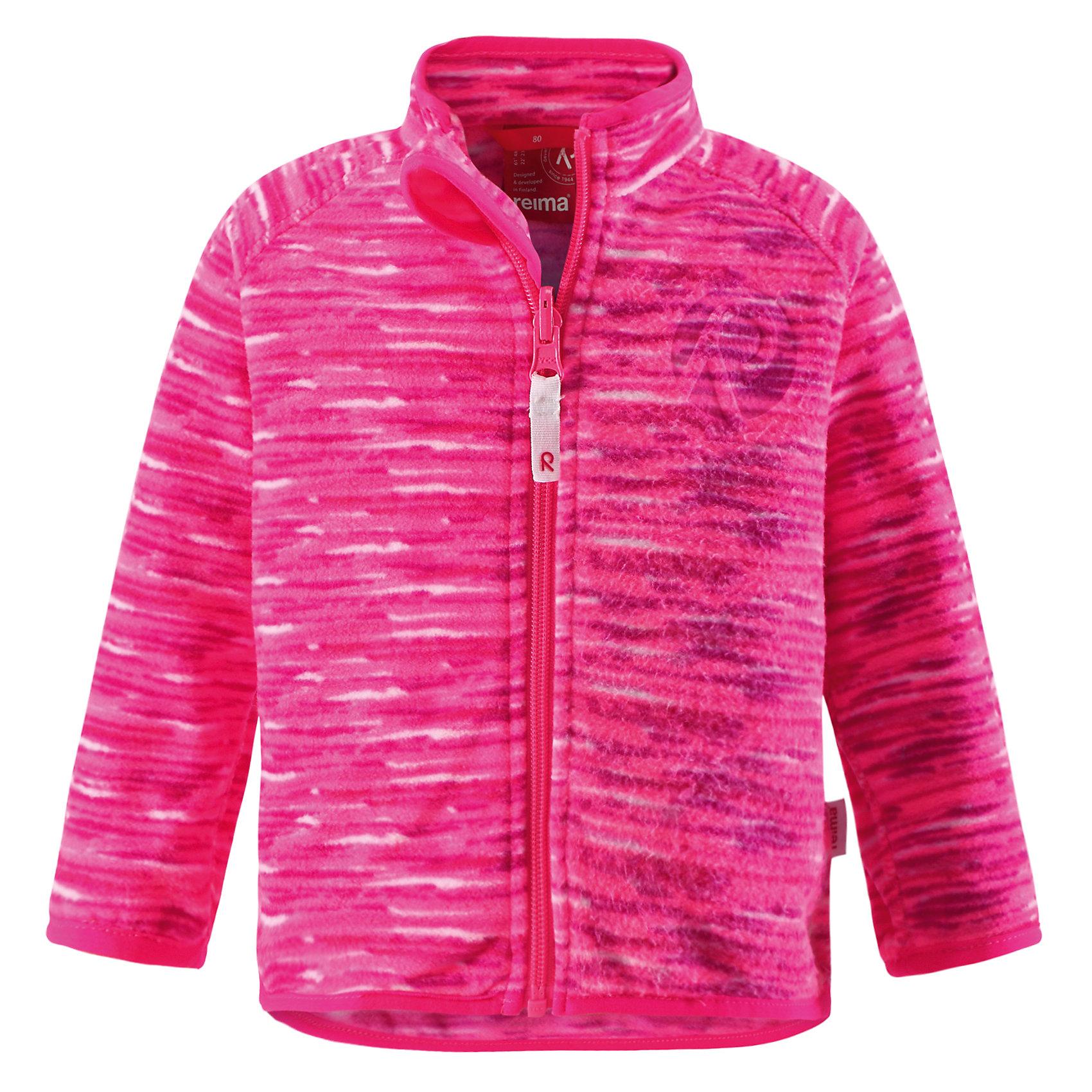 Куртка для девочки ReimaКуртка флисовая от финской марки Reima.<br>*Флисовая куртка для малышей*Теплый, легкий и быстросохнущий поларфлис*Может пристегиваться к верхней одежде Reima® кнопками Play Layers®*Эластичная резинка на воротнике, манжетах и подоле*Удлиненный подол сзади для дополнительной защиты*Молния по всей длине с защитой подбородка*Двухсторонний замок молнии позволяет застегивать куртку при использовании системы Play Layers®*Аппликация<br>Состав:<br>100% ПЭ<br><br>Ширина мм: 190<br>Глубина мм: 74<br>Высота мм: 229<br>Вес г: 236<br>Цвет: розовый<br>Возраст от месяцев: 6<br>Возраст до месяцев: 9<br>Пол: Женский<br>Возраст: Детский<br>Размер: 74,98,80,86,92<br>SKU: 4631397