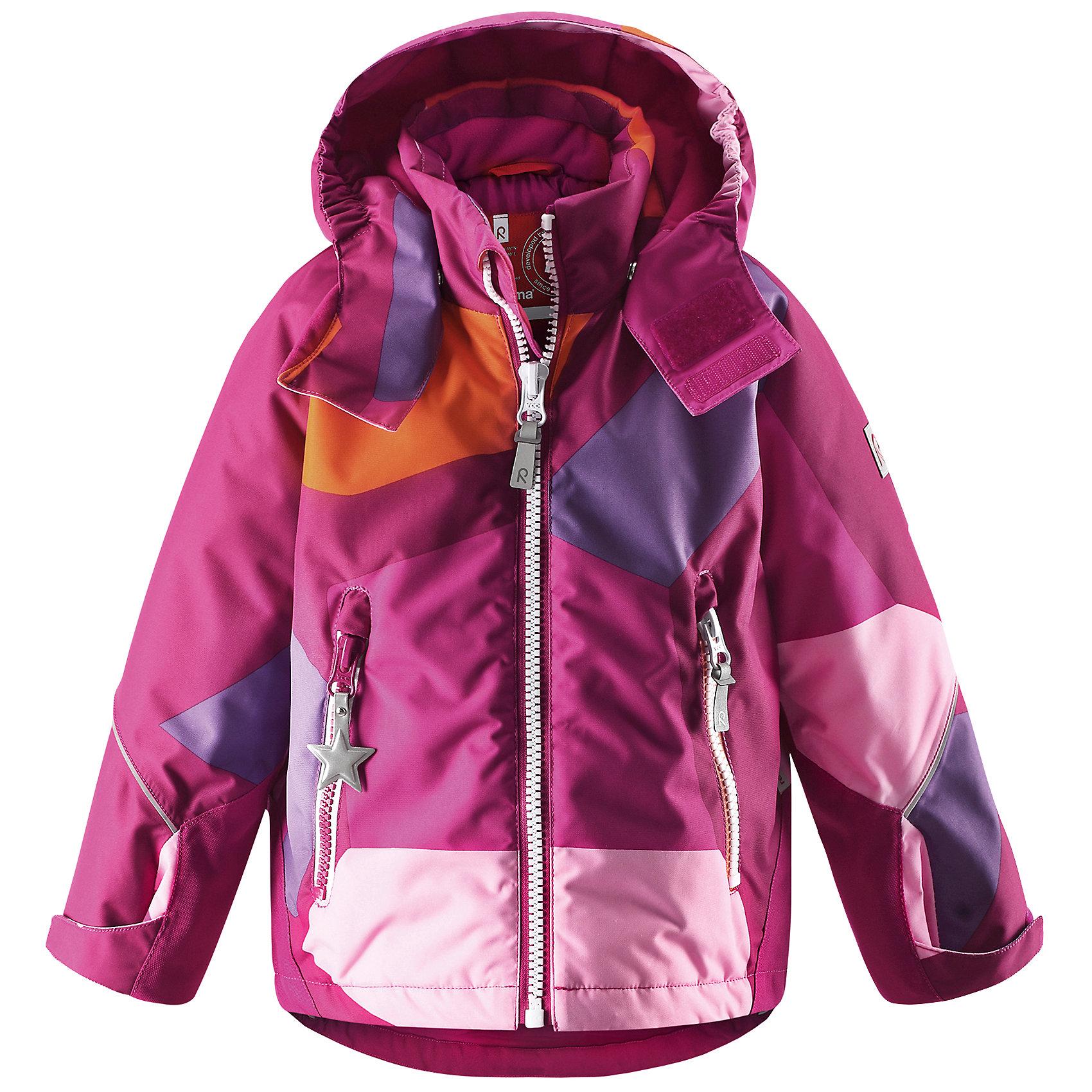 Куртка для девочки ReimaКуртка от финской марки Reima.<br>*Водоотталкивающая зимняя куртка Kiddo для детей постарше<br>*Основные швы проклеены, водонепроницаемы<br>*Безопасный сьемный капюшон<br>*Прочные усиления на заднем подоле и манжетах<br>*Два кармана на молнии<br>*Регулируемый подол и манжеты<br>*Множество светоотражающих деталей<br>Состав:<br>100% ПЭ, ПУ-покрытие<br><br>Ширина мм: 356<br>Глубина мм: 10<br>Высота мм: 245<br>Вес г: 519<br>Цвет: розовый<br>Возраст от месяцев: 48<br>Возраст до месяцев: 60<br>Пол: Женский<br>Возраст: Детский<br>Размер: 110,104,116,122,128,140,134<br>SKU: 4632023