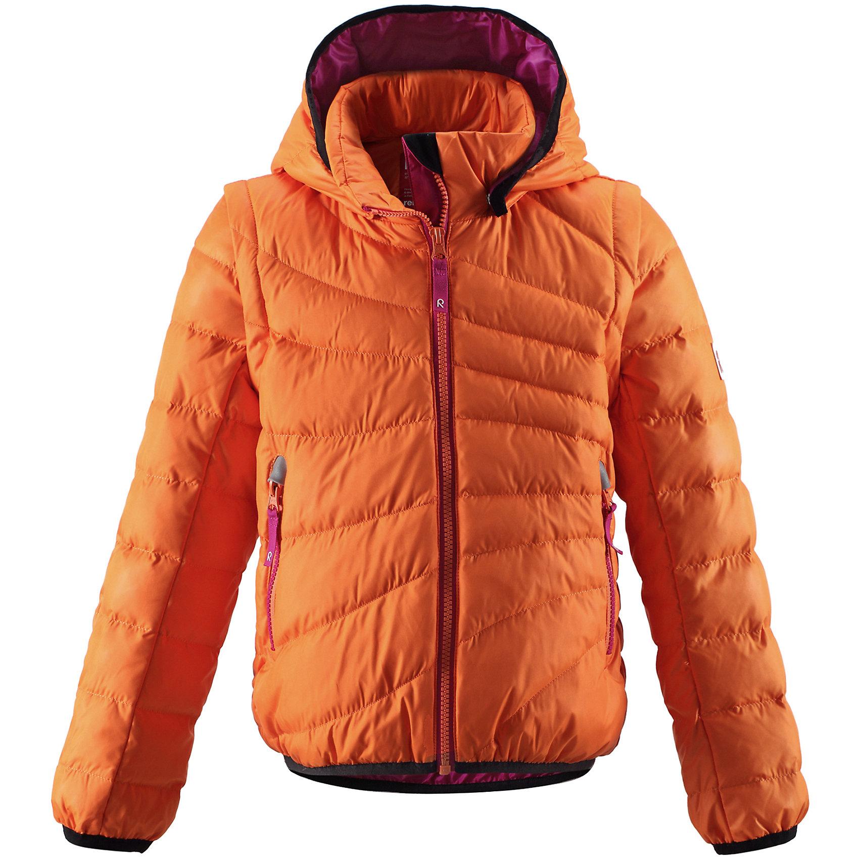 Куртка для девочки ReimaКуртка от финской марки Reima.<br>*Лёгкий пуховик для девочек-подростков<br>*Безопасный съёмный регулируемый капюшон <br>*Отстёгивающиеся рукава на молниях<br>*Эластичный кант на манжетах рукавов и по нижнему краю пуховика<br>*Молнии контрастного цвета <br>*Два боковых кармана на молниях<br><br>Состав:<br>100% ПЭ<br><br>Ширина мм: 356<br>Глубина мм: 10<br>Высота мм: 245<br>Вес г: 519<br>Цвет: оранжевый<br>Возраст от месяцев: 48<br>Возраст до месяцев: 60<br>Пол: Женский<br>Возраст: Детский<br>Размер: 146,104,116,122,128,134,110,140,152,164,158<br>SKU: 4632094