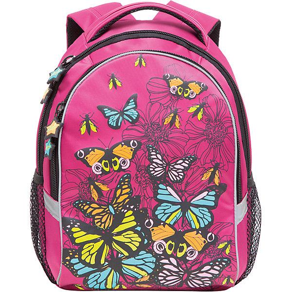 Рюкзак школьный Grizzly, розовыйРюкзаки<br>Яркий школьный рюкзак для девочки  с двумя объемными отделениями и пеналом-органайзером для канцелярии на лицевой стороне украшен изображениями бабочек.<br><br>Дополнительная информация:<br><br>два отделения, <br>боковые карманы из сетки, <br>внутренний карман-пенал для карандашей, <br>жесткая ортопедическая спинка, <br>мягкая укрепленная ручка, <br>укрепленные регулируемые лямки, <br>светоотражающие элементы с четырех сторон<br>вес: 670 г<br>размер: 28х41х20см<br><br>Рюкзак школьный, фуксия можно купить в нашем магазине.<br><br>Ширина мм: 280<br>Глубина мм: 190<br>Высота мм: 380<br>Вес г: 665<br>Возраст от месяцев: 72<br>Возраст до месяцев: 120<br>Пол: Женский<br>Возраст: Детский<br>SKU: 4632775