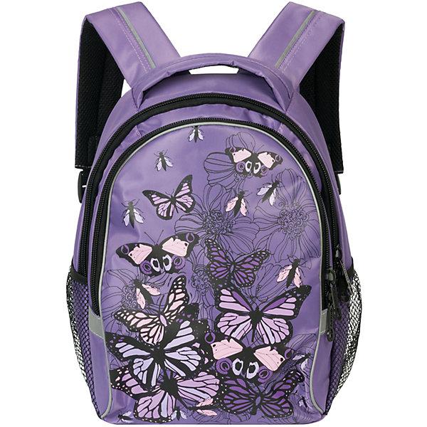 Рюкзак школьный GrizzlyРюкзаки<br>Яркий школьный рюкзак для девочки  с двумя объемными отделениями и пеналом-органайзером для канцелярии на лицевой стороне украшен изображениями бабочек.<br><br>Дополнительная информация:<br><br>два отделения, <br>боковые карманы из сетки, <br>внутренний карман-пенал для карандашей, <br>жесткая ортопедическая спинка, <br>мягкая укрепленная ручка, <br>укрепленные регулируемые лямки, <br>светоотражающие элементы с четырех сторон<br>вес: 670 г<br>размер: 28х41х20см<br><br>Рюкзак школьный, лаванда можно купить в нашем магазине.<br><br>Ширина мм: 280<br>Глубина мм: 190<br>Высота мм: 380<br>Вес г: 665<br>Возраст от месяцев: 72<br>Возраст до месяцев: 120<br>Пол: Женский<br>Возраст: Детский<br>SKU: 4632776