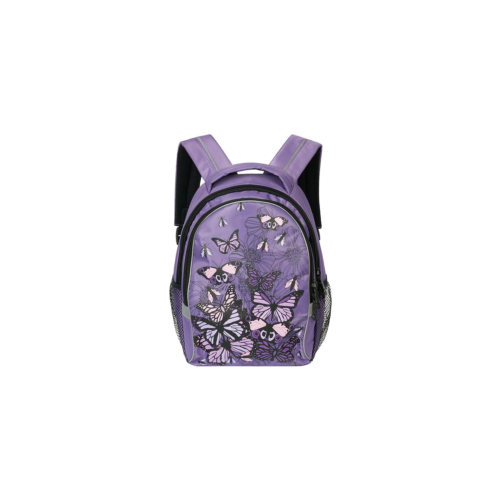 Рюкзак школьный GrizzlyАксессуары<br>Яркий школьный рюкзак для девочки  с двумя объемными отделениями и пеналом-органайзером для канцелярии на лицевой стороне украшен изображениями бабочек.<br><br>Дополнительная информация:<br><br>два отделения, <br>боковые карманы из сетки, <br>внутренний карман-пенал для карандашей, <br>жесткая ортопедическая спинка, <br>мягкая укрепленная ручка, <br>укрепленные регулируемые лямки, <br>светоотражающие элементы с четырех сторон<br>вес: 670 г<br>размер: 28х41х20см<br><br>Рюкзак школьный, лаванда можно купить в нашем магазине.<br><br>Ширина мм: 280<br>Глубина мм: 190<br>Высота мм: 380<br>Вес г: 665<br>Возраст от месяцев: 72<br>Возраст до месяцев: 120<br>Пол: Женский<br>Возраст: Детский<br>SKU: 4632776