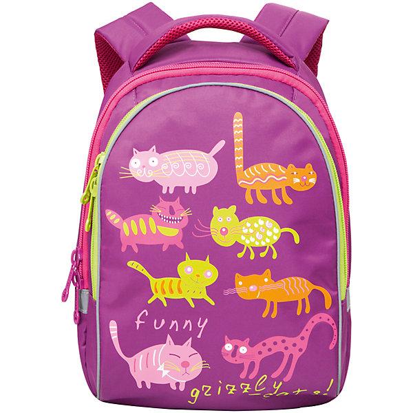 Рюкзак школьный Grizzly Funny cats, лиловыйАксессуары<br>Яркий школьный рюкзак для девочки  с двумя объемными отделениями и пеналом-органайзером для канцелярии на лицевой стороне украшен забавных кошечек.<br><br>Дополнительная информация:<br><br>два отделения, <br>боковые карманы из сетки, <br>внутренний карман-пенал для карандашей, <br>жесткая ортопедическая спинка, <br>мягкая укрепленная ручка, <br>укрепленные регулируемые лямки, <br>светоотражающие элементы с четырех сторон<br>вес: 670 г<br>размер: 28х41х20см<br><br>Рюкзак школьный Funny cats, лиловый можно купить в нашем магазине.<br><br>Ширина мм: 280<br>Глубина мм: 170<br>Высота мм: 380<br>Вес г: 500<br>Возраст от месяцев: 72<br>Возраст до месяцев: 120<br>Пол: Женский<br>Возраст: Детский<br>SKU: 4632777