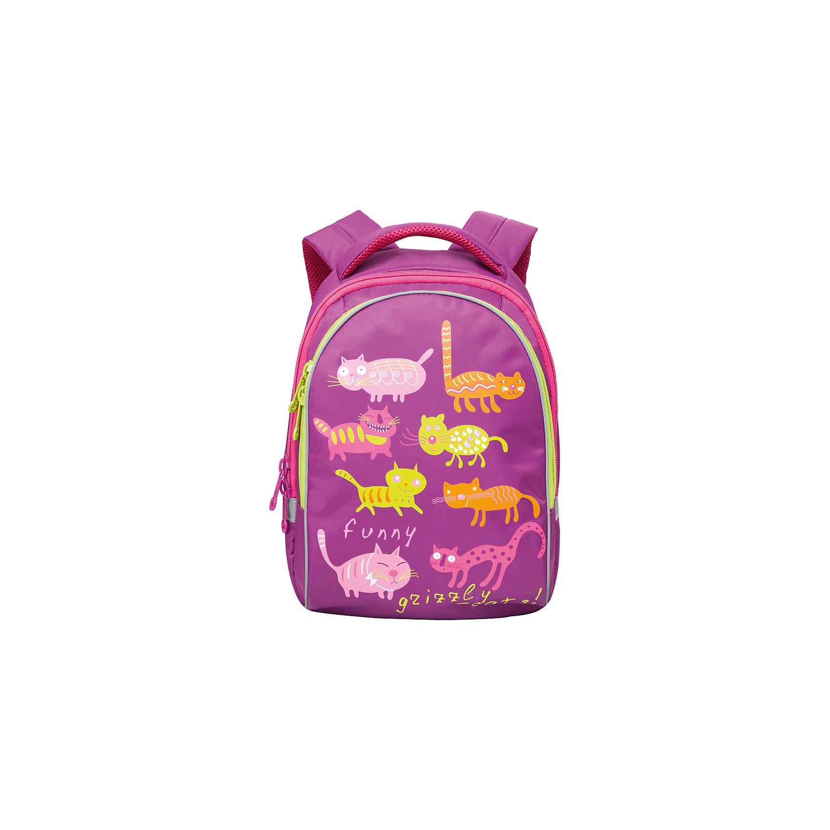 Grizzly Рюкзак школьный Funny cats, лиловыйРюкзаки<br>Яркий школьный рюкзак для девочки  с двумя объемными отделениями и пеналом-органайзером для канцелярии на лицевой стороне украшен забавных кошечек.<br><br>Дополнительная информация:<br><br>два отделения, <br>боковые карманы из сетки, <br>внутренний карман-пенал для карандашей, <br>жесткая ортопедическая спинка, <br>мягкая укрепленная ручка, <br>укрепленные регулируемые лямки, <br>светоотражающие элементы с четырех сторон<br>вес: 670 г<br>размер: 28х41х20см<br><br>Рюкзак школьный Funny cats, лиловый можно купить в нашем магазине.<br><br>Ширина мм: 280<br>Глубина мм: 170<br>Высота мм: 380<br>Вес г: 500<br>Возраст от месяцев: 72<br>Возраст до месяцев: 120<br>Пол: Женский<br>Возраст: Детский<br>SKU: 4632777
