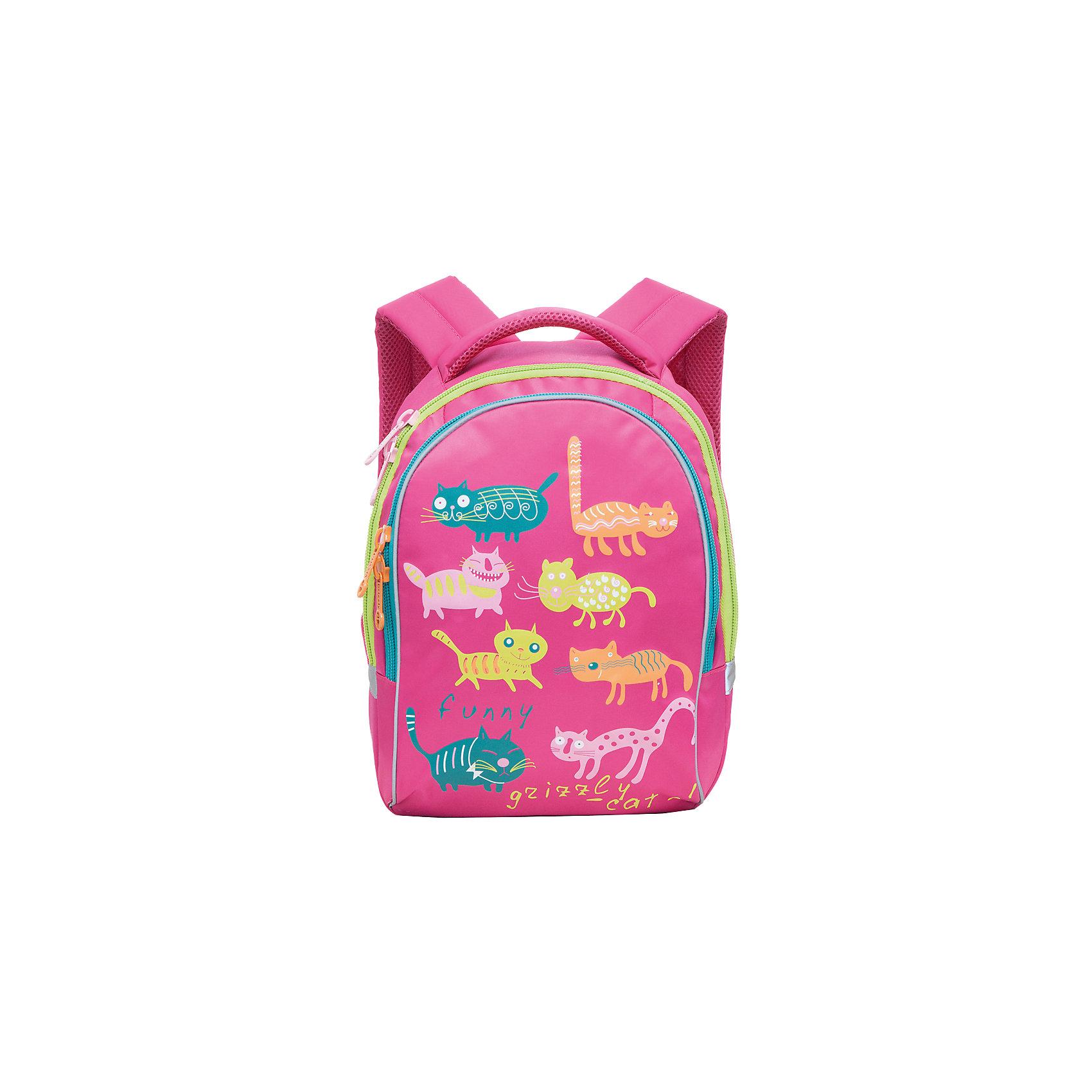 Grizzly Рюкзак школьный Funny cats, фуксияАксессуары<br>Яркий школьный рюкзак для девочки  с двумя объемными отделениями и пеналом-органайзером для канцелярии на лицевой стороне украшен забавных кошечек.<br><br>Дополнительная информация:<br><br>два отделения, <br>боковые карманы из сетки, <br>внутренний карман-пенал для карандашей, <br>жесткая ортопедическая спинка, <br>мягкая укрепленная ручка, <br>укрепленные регулируемые лямки, <br>светоотражающие элементы с четырех сторон<br>вес: 670 г<br>размер: 28х41х20см<br><br>Рюкзак школьный Funny cats, фуксия можно купить в нашем магазине.<br><br>Ширина мм: 280<br>Глубина мм: 170<br>Высота мм: 380<br>Вес г: 500<br>Возраст от месяцев: 72<br>Возраст до месяцев: 144<br>Пол: Женский<br>Возраст: Детский<br>SKU: 4632778