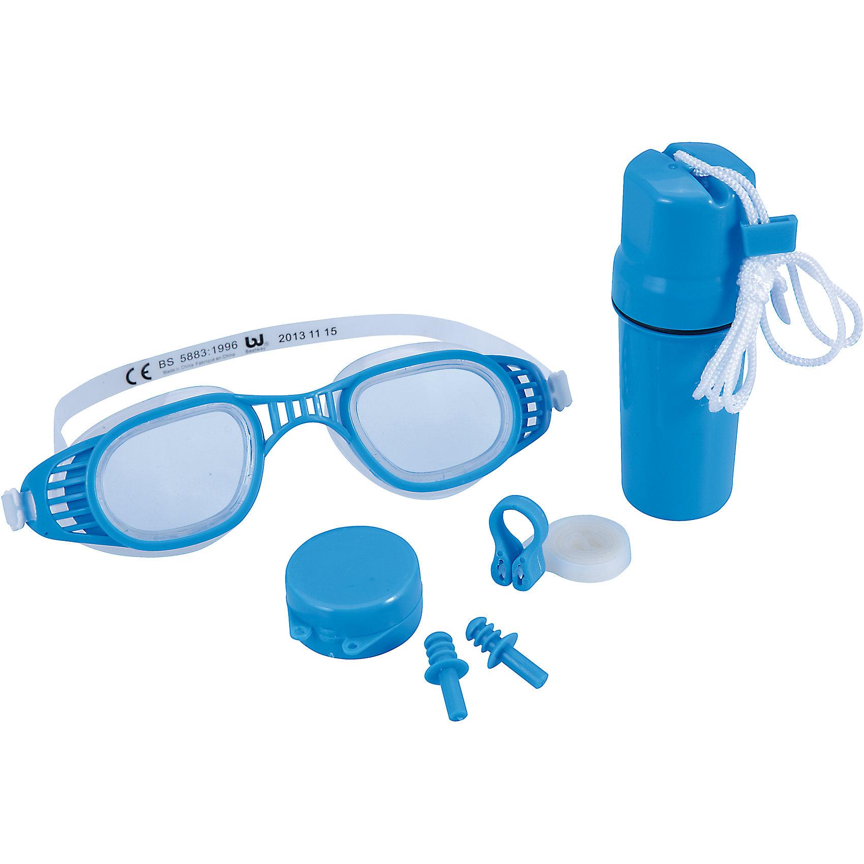 Набор для плавания, BestwayНабор для плавания, Bestway - отличный вариант для активного отдыха и увлекательных игр в воде  В комплект входят очки для плавания, зажим для носа и беруши. Очки оснащены линзами с улучшенным боковым обзором, плотно прилегают к лицу и не допускает попадания воды.<br>Мягкая оправа из безопасного гипоаллергенного поливинилхлорида обеспечит удобство и комфорт. Силиконовый ремешок и переносица регулируются до нужного размера. Очки выполнены из долговечного, ударопрочного материала, который не раздражает кожу и полностью безопасен для детского здоровья. Беруши-затычки надёжно защищают органы слуха от воды, а мягкий зажим на верёвочке препятствует попаданию воды в носовую полость. Комплект упакован в удобный пластиковый футляр.<br><br>Дополнительная информация:<br><br>- В комплекте: очки, зажим для носа, беруши. <br>- Материал: резина\силикон\клеенка, поликарбонат.<br>- Размер упаковки: 24 х 6 х 31 см. <br>- Вес: 0,2 кг.<br><br>Набор для плавания, Bestway, можно купить в нашем интернет-магазине.<br><br>Ширина мм: 1900<br>Глубина мм: 2200<br>Высота мм: 420<br>Вес г: 99<br>Возраст от месяцев: 36<br>Возраст до месяцев: 120<br>Пол: Унисекс<br>Возраст: Детский<br>SKU: 4632809