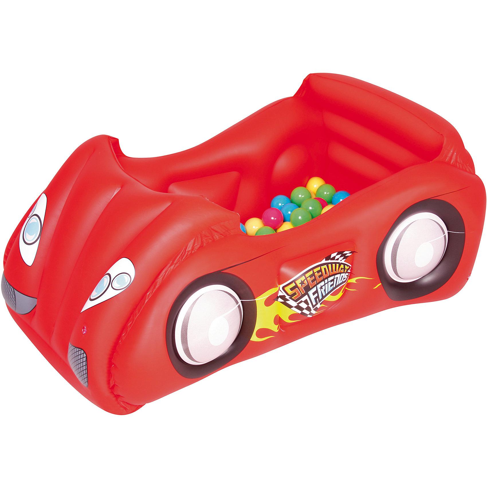 Игровой центр Машина с шариками, Bestway, в ассортиментеИгровой центр Машина с шариками, Bestway - чудесный игровой комплекс, который отлично подойдет для разнообразных игр и развлечений как дома так и на улице. Его можно использовать как место для игр и отдыха или устраивать на нем веселые гонки. Игрушка выполнена в форме красочного гоночного автомобиля с мягким дном и удобным сиденьем для водителя и пассажира. Прочный долговечный материал ПВХ из нескольких слоев способен выдерживать большие нагрузки. Когда автомобиль не используется по назначению, он может стать большим бассейном с разноцветными шариками (входят в комплект). Для детей 3-6 лет.<br><br>Дополнительная информация:<br><br>- В комплекте: надувной игровой центр, 50 шариков.<br>- Материал: ПВХ.<br>- Размер машины: 119 x 79 x 51 см. <br>- Вес: 3,5 кг.<br><br>Игровой центр Машина с шариками, Bestway, можно купить в нашем интернет-магазине.<br><br>Ширина мм: 4000<br>Глубина мм: 3930<br>Высота мм: 1300<br>Вес г: 2154<br>Возраст от месяцев: 36<br>Возраст до месяцев: 120<br>Пол: Унисекс<br>Возраст: Детский<br>SKU: 4632818