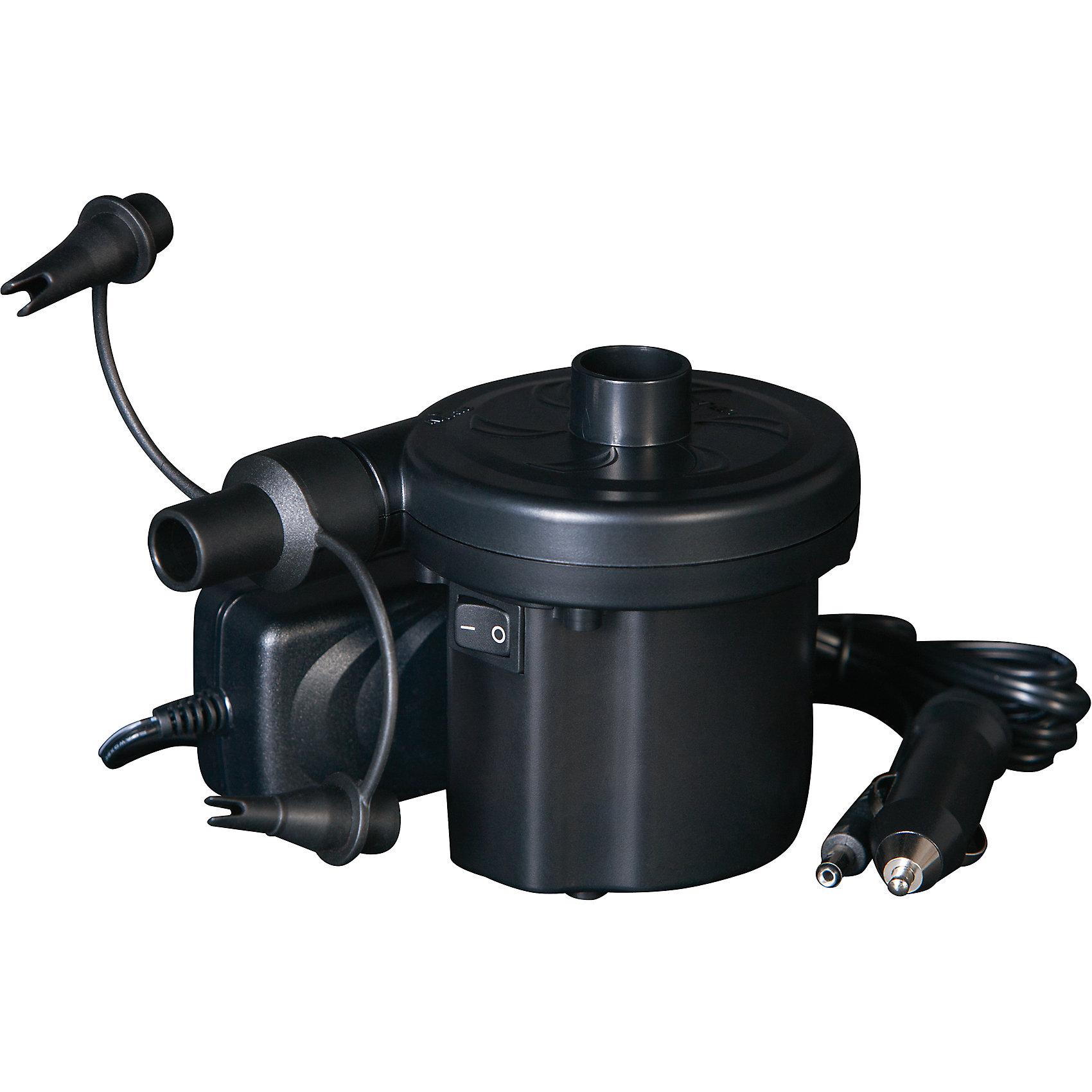 Насос электрический (220В/12В), BestwayНасос электрический, Bestway, прекрасно подходит для надувания любых типов надувных изделий. С его помощью можно легко надуть бассейн, надувную кровать, лодку и прочие изделия таких фирм как Bestway и Intex. Насос работает от сети 220 В через адаптер питания или от автомобильного прикуривателя 12 В. Может работать в двух режимах - в режиме надувания или откачивания воздуха. В комплект также входят 3 насадки-переходника для разных типов клапанов.<br><br>Дополнительная информация:<br><br>- Материал: пластик, металл.<br>- Питание 12 В / 220 В.<br>- Потребляемая мощность 35 Вт.<br>- Размер насоса: 9 х 12 х 10 см.<br>- Размер упаковки: 14 х 10,5 х 12 см.<br>- Вес: 1,2 кг. <br><br>Насос электрический (220В/12В), Bestway, можно купить в нашем интернет-магазине.<br><br>Ширина мм: 1400<br>Глубина мм: 1200<br>Высота мм: 1050<br>Вес г: 469<br>Возраст от месяцев: 144<br>Возраст до месяцев: 1188<br>Пол: Унисекс<br>Возраст: Детский<br>SKU: 4632828
