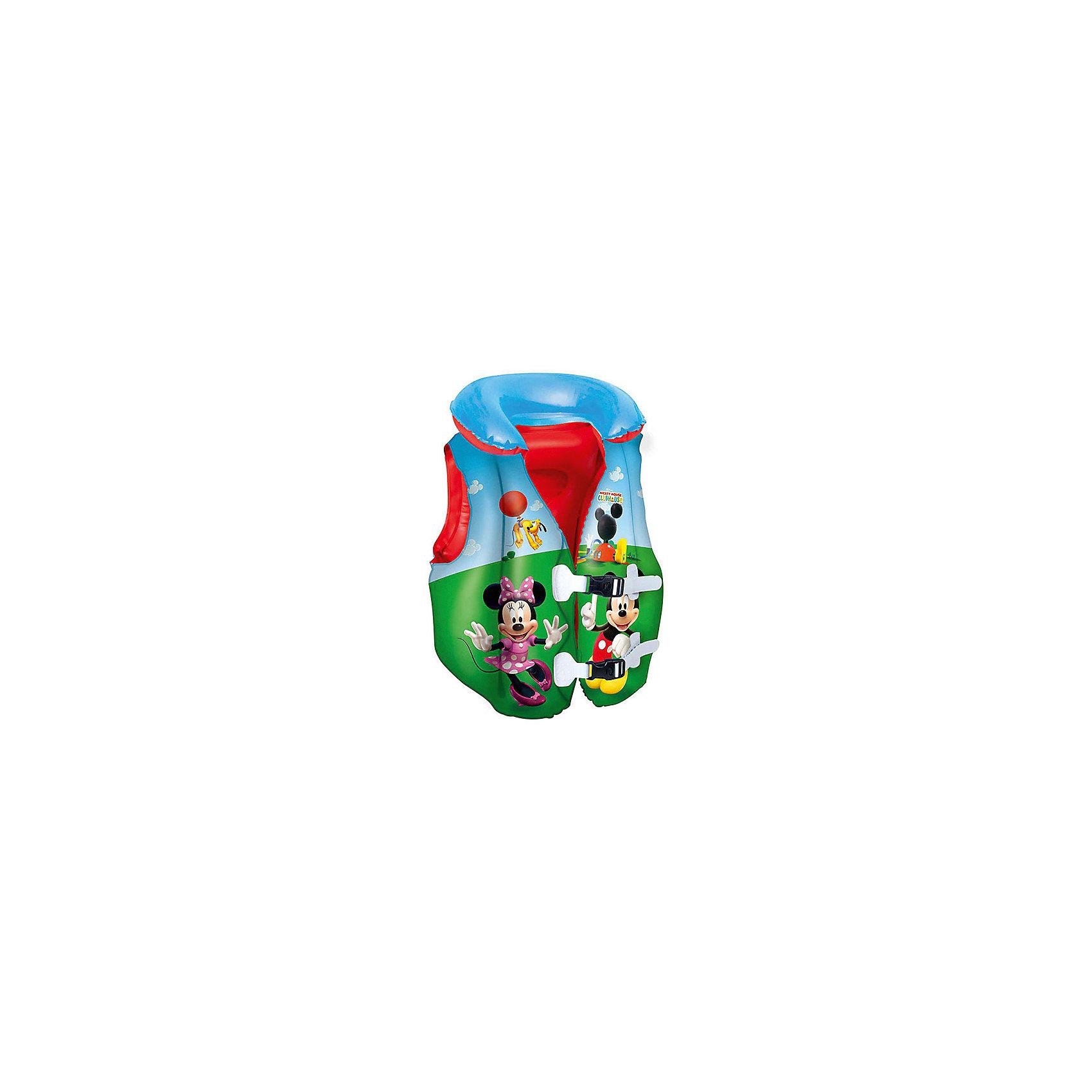 Жилет для плавания Клуб Микки Мауса, BestwayКруги и нарукавники<br>Характеристики товара:<br><br>• материал: винил<br>• размер: 51х46 см<br>• легкий материал<br>• окружность груди: 70 см.<br>• надувной воротник<br>• яркий цвет<br>• 2 быстрорастегиваемых регулируемых пряжки<br>• хорошо заметен на воде<br>• возраст: от 3 лет<br>• страна бренда: США, Китай<br>• страна производства: Китай<br><br>Это отличный способ научить малышей плавать и обеспечить детям веселое времяпровождение! Жилет поможет ребенку больше двигаться в воде и поддерживать хорошую физическую форму.<br><br>Предмет сделан из прочного материала, но очень легкого - отлично держится на воде. Жилет легкий, его удобно брать с собой. Изделия произведены из качественных и безопасных для детей материалов.<br><br>Жилет для плавания Клуб Микки Мауса от бренда Bestway (Бествей) можно купить в нашем интернет-магазине.<br><br>Ширина мм: 140<br>Глубина мм: 215<br>Высота мм: 300<br>Вес г: 286<br>Возраст от месяцев: 36<br>Возраст до месяцев: 120<br>Пол: Унисекс<br>Возраст: Детский<br>SKU: 4632835