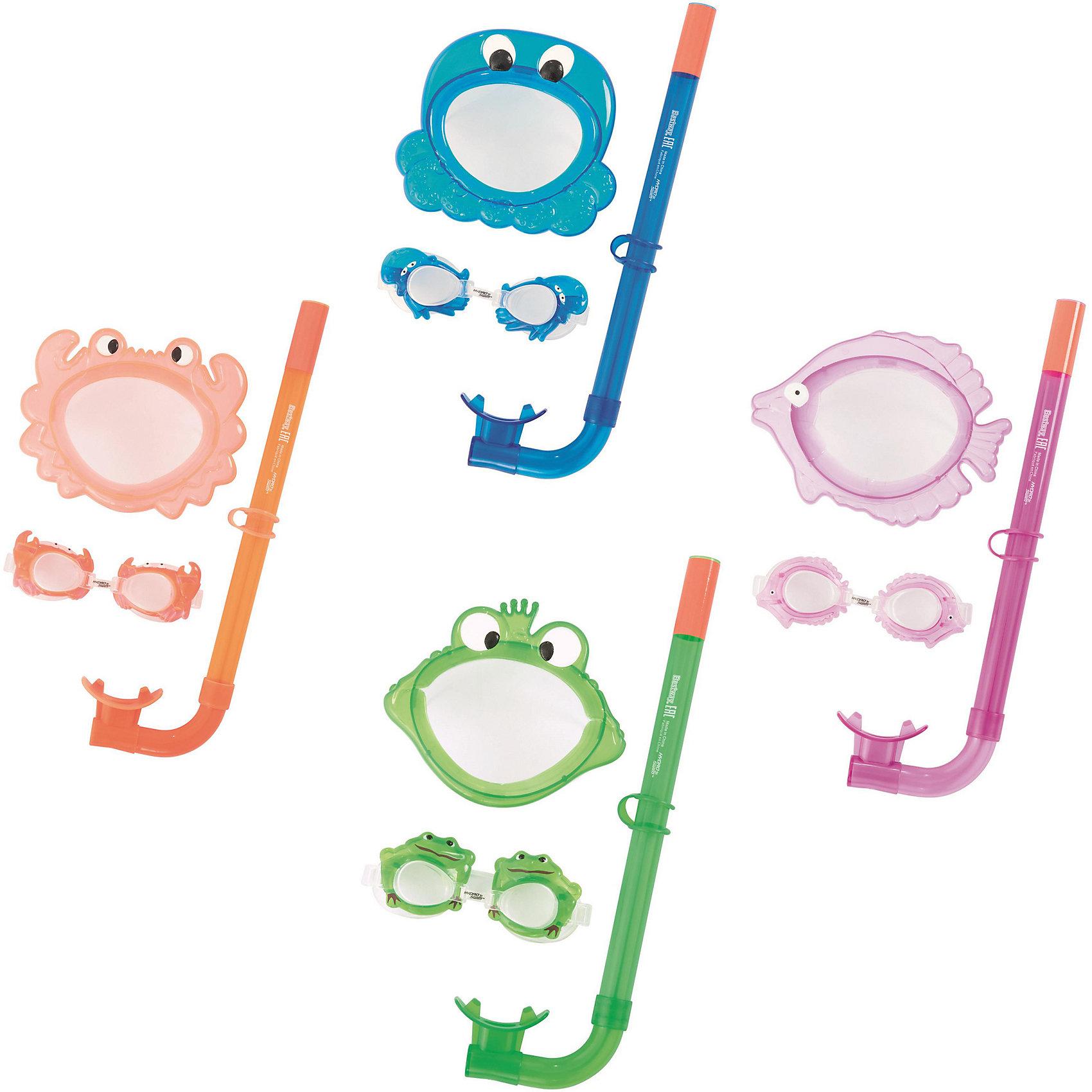 Набор для ныряния детский, морские животные, в ассортименте, BestwayДетский набор для ныряния, Bestway - отличный вариант для активного отдыха и увлекательных исследований подводного мира. В комплект входят маска для ныряния, очки для плавания и трубка. Все предметы выполнены в одной цветовой гаме. Маска и очки имеют оригинальный дизайн в виде забавных морских обитателей, оснащены линзами из поликарбоната с широким обзором без искажений, плотно прилегают к лицу и надёжно фиксируются регулируемым ремешком. Пластиковая трубка с мягким загубником и регулируемым фиксатором ремешка трубки позволяет оставаться под водой на протяжении длительного времени. В ассортименте 4 дизайна в виде морских животных. Подходит для детей от 3 лет.<br><br>Дополнительная информация:<br><br>- Материал: поликарбонат.<br>- Размер упаковки: 19 х 7 х 40 см.<br>- Вес: 0,371 кг.<br><br>Набор для ныряния детский, морские животные, в ассортименте, Bestway, можно купить в нашем интернет-магазине.<br><br>ВНИМАНИЕ! Данный артикул имеется в наличии в разных вариантах исполнения. Заранее выбрать определенный вариант нельзя. При заказе нескольких наборов возможно получение одинаковых.<br><br>Ширина мм: 2500<br>Глубина мм: 4150<br>Высота мм: 720<br>Вес г: 245<br>Возраст от месяцев: 36<br>Возраст до месяцев: 120<br>Пол: Унисекс<br>Возраст: Детский<br>SKU: 4632848
