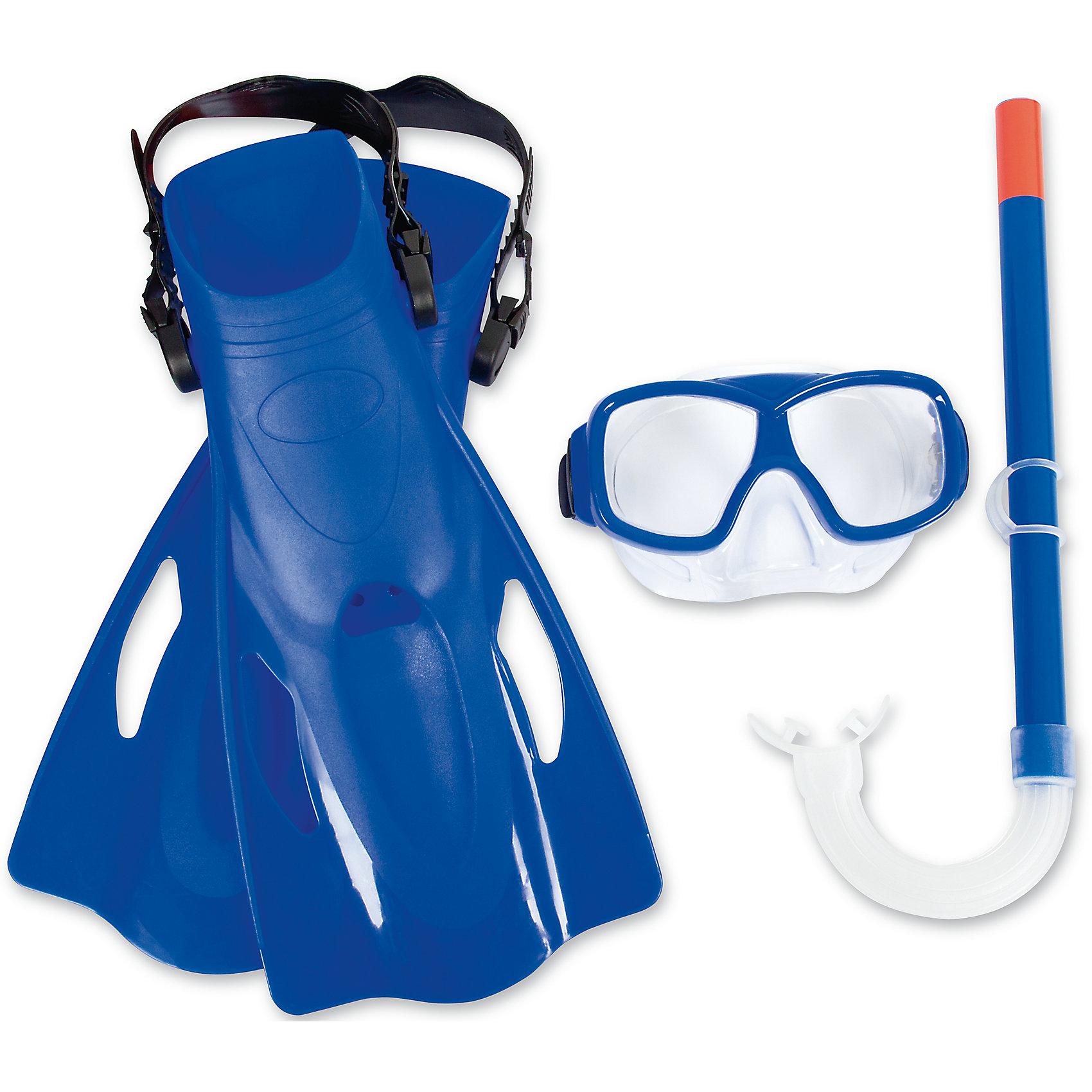 Набор для ныряния SureSwim подростковый, BestwayПодростковый набор для ныряния SureSwim, Bestway - отличный вариант для активного отдыха и увлекательных исследований подводного мира. В комплект входят маска для ныряния, трубка и ласты. Маска оснащена двойными линзами из поликарбоната с широким обзором без искажений, плотно прилегает к лицу и надёжно фиксируется регулируемым ремешком. Пластиковая трубка с мягким загубником и регулируемым фиксатором ремешка трубки позволяет оставаться под водой на протяжении длительного времени. Мягкие ласты для плавания улучшают положение тела в воде, увеличивают скорость, силу ног и гибкость суставов. Ласты фиксируются с помощью крепёжного ремешка на пятке, который позволяет регулировать размер от 39 до 42. Для детей от 7 лет. Цвета в ассортименте.<br><br>Дополнительная информация:<br><br>- Материал: поликарбонат, пластик, резина/латекс.<br>- Размер упаковки: 41 х 11 х 21 см.<br>- Вес: 0,614 кг.<br><br>Набор для ныряния SureSwim подростковый, Bestway, можно купить в нашем интернет-магазине.<br><br>Ширина мм: 3600<br>Глубина мм: 1800<br>Высота мм: 1150<br>Вес г: 614<br>Возраст от месяцев: 96<br>Возраст до месяцев: 168<br>Пол: Унисекс<br>Возраст: Детский<br>SKU: 4632850