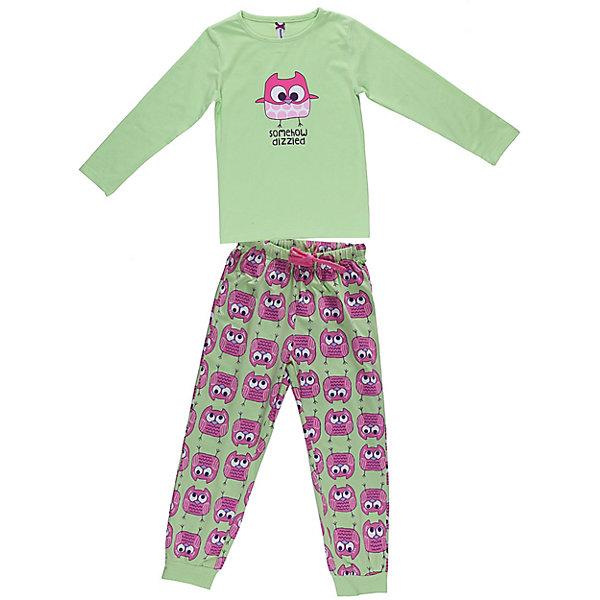 Пижама для девочки Sweet BerryПижамы и сорочки<br>Пижама для девочки, футболка с длинным рукавом украшена принтом, брюки из принтованной ткани на манжетах. Состав: 95% хлопок, 5% эластан<br><br>Ширина мм: 281<br>Глубина мм: 70<br>Высота мм: 188<br>Вес г: 295<br>Цвет: зеленый/розовый<br>Возраст от месяцев: 84<br>Возраст до месяцев: 96<br>Пол: Женский<br>Возраст: Детский<br>Размер: 128,134,98,110,116,122,140,104<br>SKU: 4632918