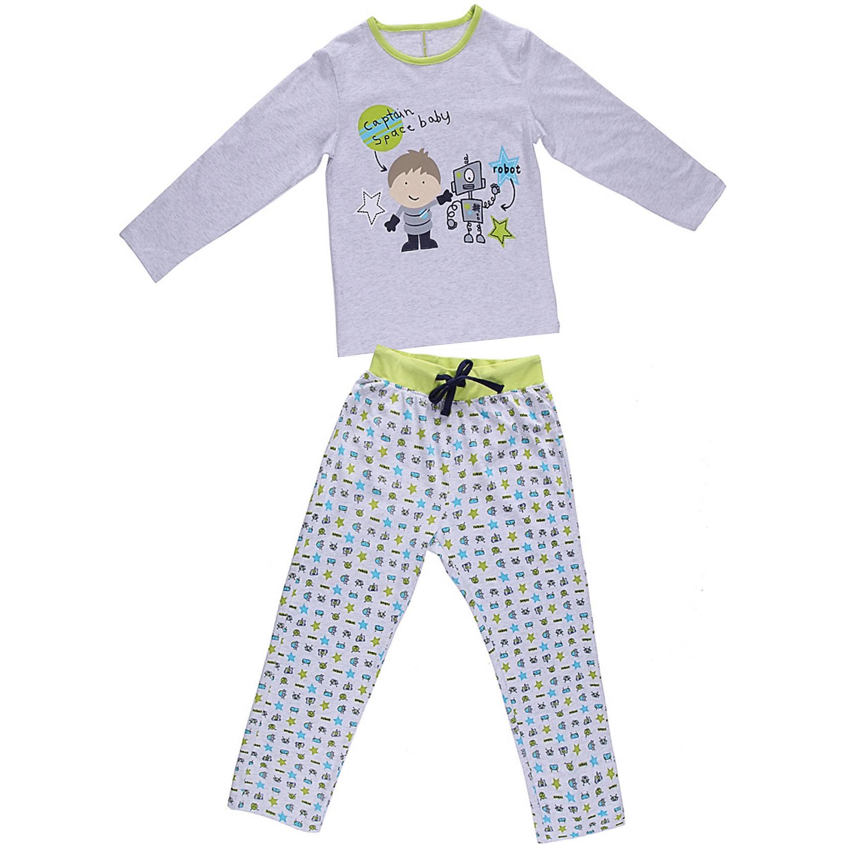 Пижама для мальчика Sweet BerryКомплект футболка с длинным рукавом и брюки из тонкого трикотажа для сна и дома. Брюки на поясе с внутренней резинкой и дополнительным хлопковым шнурком. Состав: 95% хлопок 5% эластан<br><br>Ширина мм: 281<br>Глубина мм: 70<br>Высота мм: 188<br>Вес г: 295<br>Цвет: серый<br>Возраст от месяцев: 60<br>Возраст до месяцев: 72<br>Пол: Мужской<br>Возраст: Детский<br>Размер: 122,116,128,140,104,134,98,110<br>SKU: 4632975