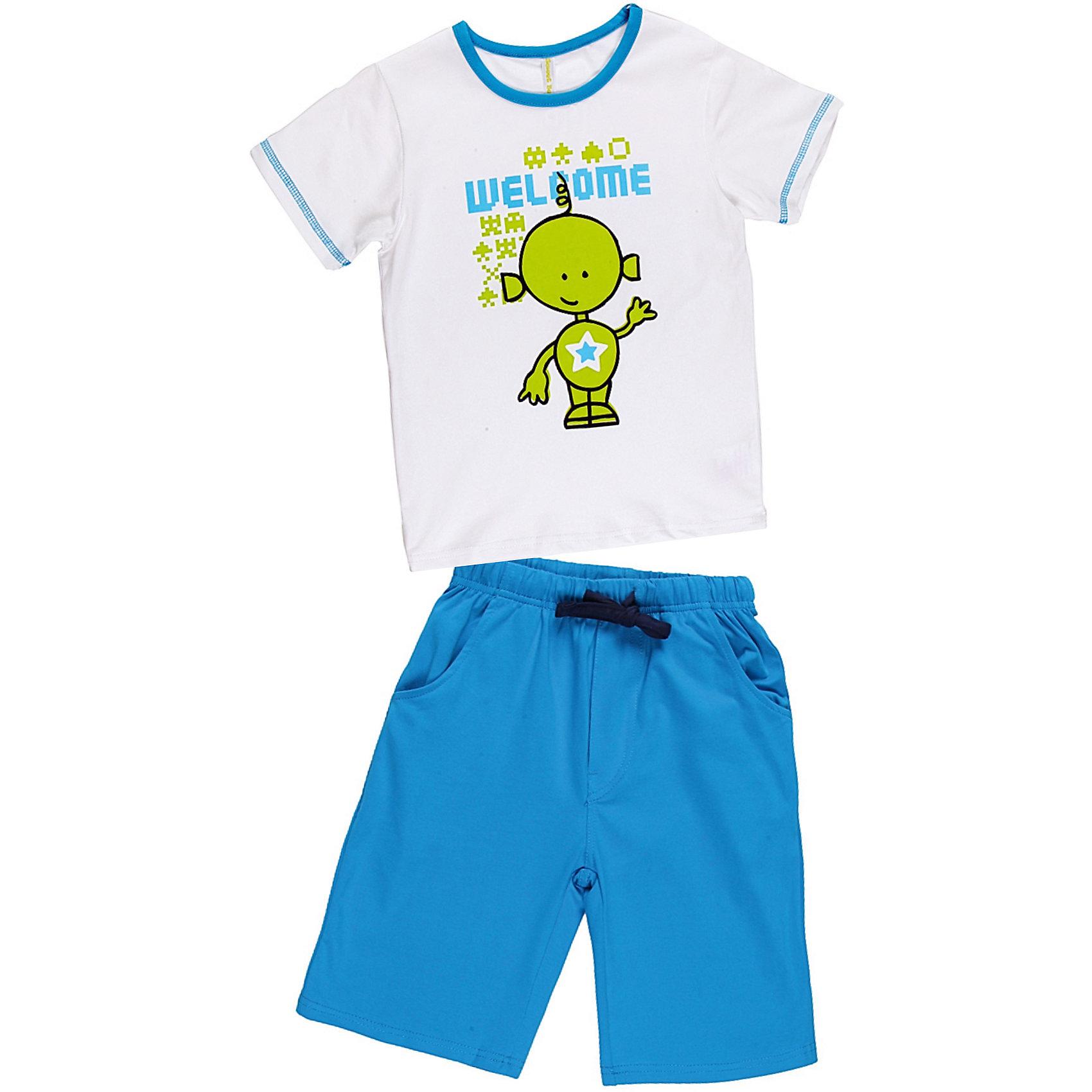 Комплект для мальчика: футболка, шорты Sweet BerryКомплекты<br>Комплект футболка и шорты для сна и дома. Шорты на поясе с внутренней резинкой и дополнительным хлопковым шнурком. Футболка украшена веселым принтом. Состав: 95% хлопок 5% эластан<br><br>Ширина мм: 281<br>Глубина мм: 70<br>Высота мм: 188<br>Вес г: 295<br>Цвет: синий/белый<br>Возраст от месяцев: 72<br>Возраст до месяцев: 84<br>Пол: Мужской<br>Возраст: Детский<br>Размер: 128,122,98,104,140,134,116,110<br>SKU: 4632984