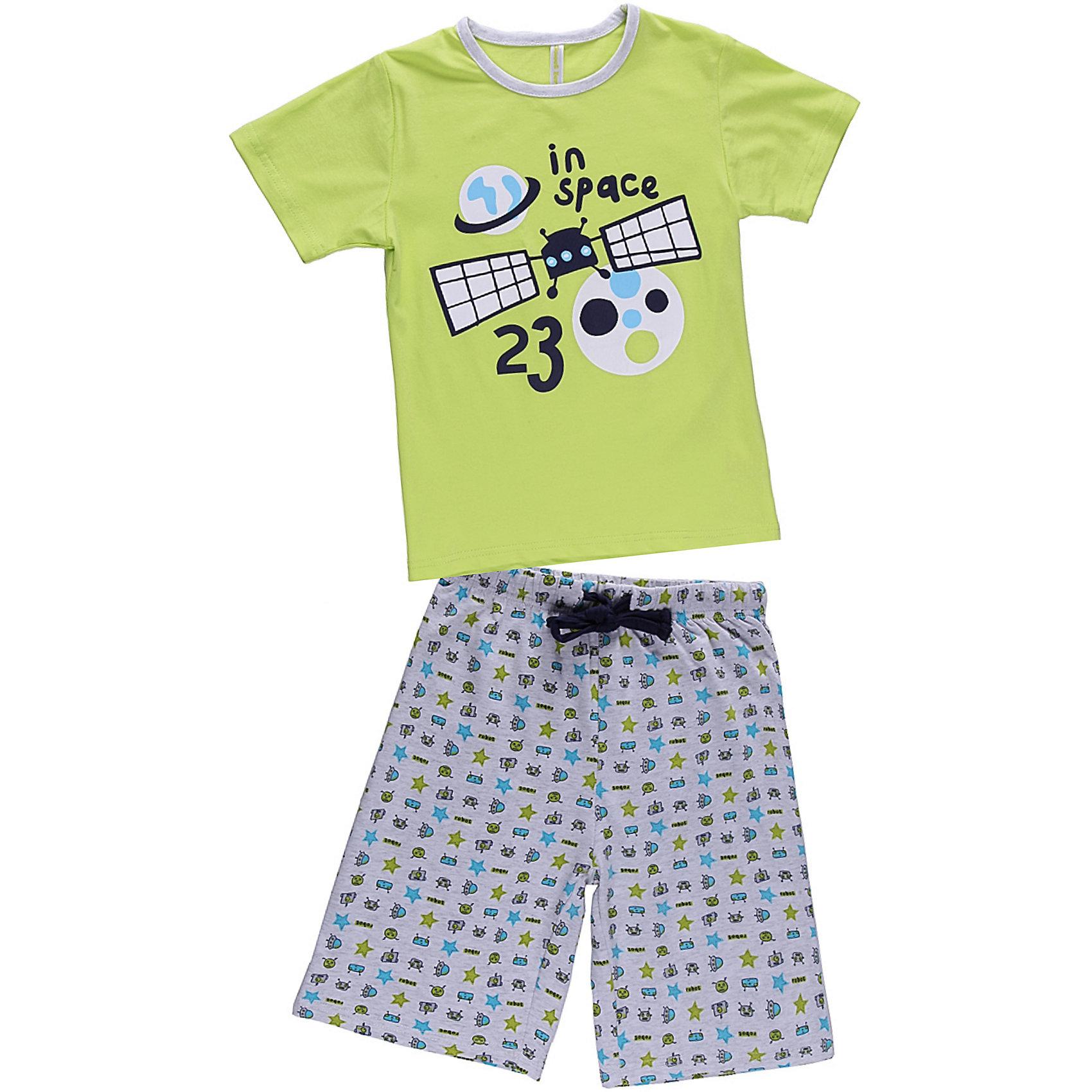 Пижама для мальчика Sweet BerryПижамы и сорочки<br>Комплект футболка и шорты для сна и дома. Шорты на поясе с внутренней резинкой и дополнительным хлопковым шнурком. Футболка украшена веселым принтом. Состав: 95% хлопок 5% эластан<br><br>Ширина мм: 281<br>Глубина мм: 70<br>Высота мм: 188<br>Вес г: 295<br>Цвет: зеленый<br>Возраст от месяцев: 24<br>Возраст до месяцев: 36<br>Пол: Мужской<br>Возраст: Детский<br>Размер: 98,104,140,122,116,110,128,134<br>SKU: 4632993