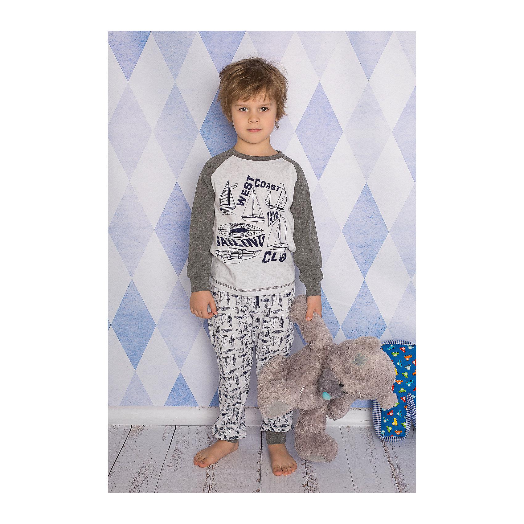 Комплект для мальчика: футболка с длинным рукавом и брюки Sweet BerryКомплект футболка с длинным рукавом и брюки из тонкого трикотажа для сна и дома. Брюки на поясе с внутренней резинкой и дополнительным хлопковым шнурком. Состав: 95% хлопок 5% эластан<br><br>Ширина мм: 281<br>Глубина мм: 70<br>Высота мм: 188<br>Вес г: 295<br>Цвет: серый<br>Возраст от месяцев: 108<br>Возраст до месяцев: 120<br>Пол: Мужской<br>Возраст: Детский<br>Размер: 140,110,116,128,134,98,104,122<br>SKU: 4633037