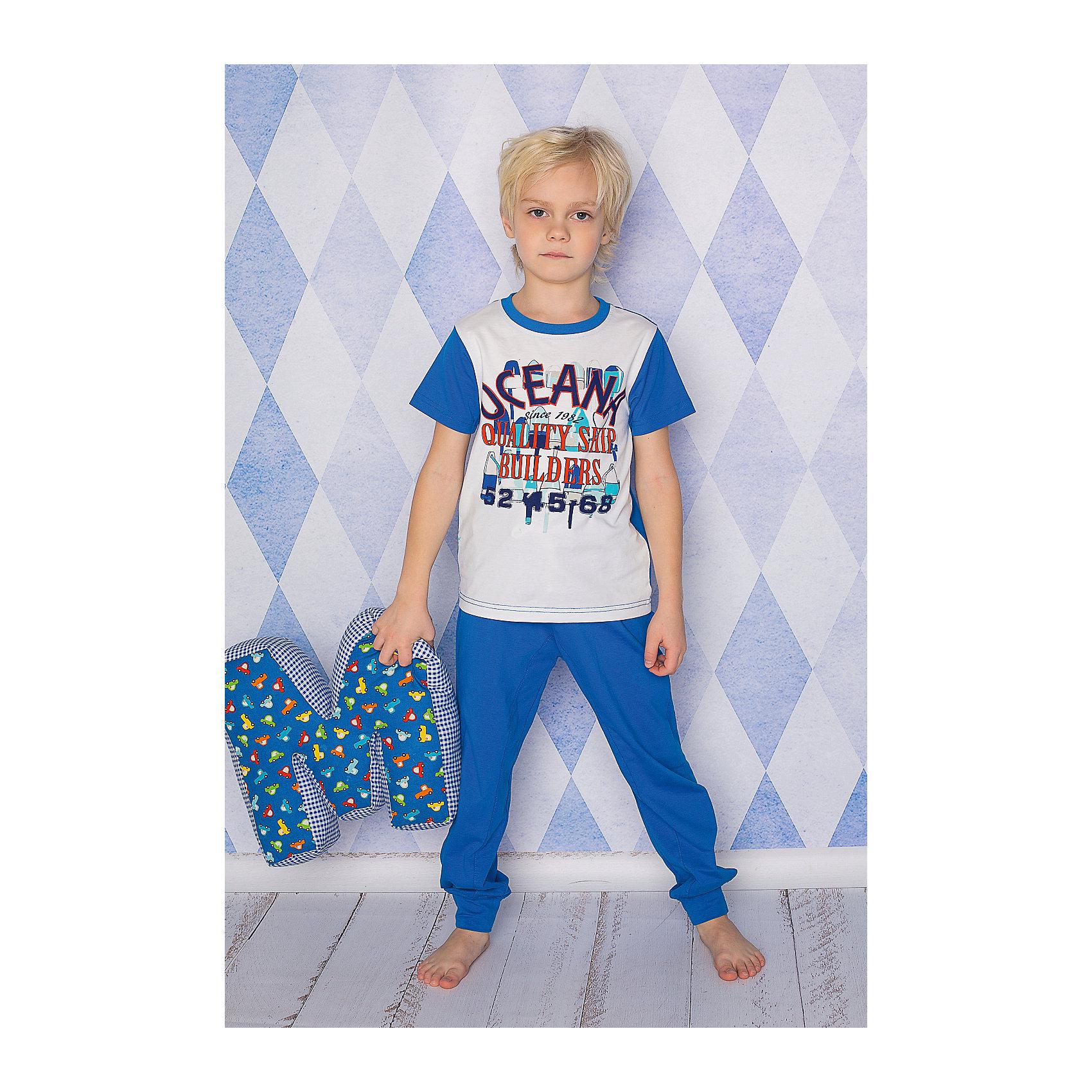 Комплект для мальчика: футболка, брюки Sweet BerryКомплект футболка и брюки из тонкого трикотажа для сна и дома. Брюки на поясе с внутренней резинкой и дополнительных хлопковым шнурком. Футболка украшена ярким принтом. Состав: 95% хлопок 5% эластан<br><br>Ширина мм: 281<br>Глубина мм: 70<br>Высота мм: 188<br>Вес г: 295<br>Цвет: белый/синий<br>Возраст от месяцев: 72<br>Возраст до месяцев: 84<br>Пол: Мужской<br>Возраст: Детский<br>Размер: 122,110,104,116,134,98,140,128<br>SKU: 4633046