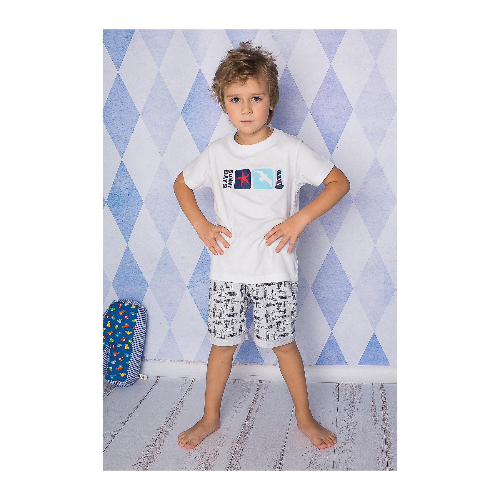 Пижама для мальчика Sweet BerryКомплект футболка и шорты для сна и дома. Шорты на поясе с внутренней резинкой и дополнительным хлопковым шнурком. Футболка украшена ярким принтом. Состав: 95% хлопок 5% эластан<br><br>Ширина мм: 281<br>Глубина мм: 70<br>Высота мм: 188<br>Вес г: 295<br>Цвет: белый/серый<br>Возраст от месяцев: 24<br>Возраст до месяцев: 36<br>Пол: Мужской<br>Возраст: Детский<br>Размер: 98,128,140,134,122,116,104,110<br>SKU: 4633055