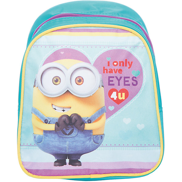 Дошкольный рюкзак Миньоны 23*19*8 смДетские рюкзаки<br>Очаровательный рюкзачок ТМ «Гадкий Я» – это невероятно привлекательный аксессуар для вашей малышки. В его внутреннем отделении на молнии легко поместятся не только игрушки, но даже тетрадка или книжка. Благодаря регулируемым лямкам, рюкзачок подходит детям любого роста. Удобная ручка помогает носить аксессуар в руке или размещать на вешалке. Изделие изготовлено из износостойкой, водонепроницаемой ткани, поэтому оно будет служить долгое время, сохраняя положенные в него вещи сухими даже в дождливую погоду. Рюкзачок декорирован привлекательным принтом (сублимированной печатью). Размер: 23х19х8 см.<br><br>Ширина мм: 255<br>Глубина мм: 210<br>Высота мм: 25<br>Вес г: 161<br>Возраст от месяцев: 36<br>Возраст до месяцев: 72<br>Пол: Унисекс<br>Возраст: Детский<br>SKU: 4635138