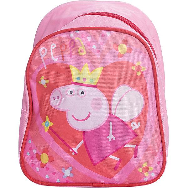 Дошкольный рюкзак Королева, Свинка ПеппаДетские рюкзаки<br>Очаровательный дошкольный рюкзачок «Свинка Пеппа» – это невероятно привлекательный аксессуар для вашей малышки. В его внутреннем отделении на молнии легко поместятся не только игрушки, но даже тетрадка или книжка. Благодаря регулируемым лямкам, рюкзачок подходит детям любого роста. Удобная ручка помогает носить аксессуар в руке или размещать на вешалке. Изделие изготовлено из износостойкой, водонепроницаемой ткани, поэтому оно будет служить долгое время, сохраняя положенные в него вещи сухими даже в дождливую погоду. Рюкзачок декорирован привлекательным принтом (сублимированной печатью). Размер: 23х19х8 см.<br>Ширина мм: 260; Глубина мм: 205; Высота мм: 25; Вес г: 163; Возраст от месяцев: 36; Возраст до месяцев: 72; Пол: Женский; Возраст: Детский; SKU: 4635148;