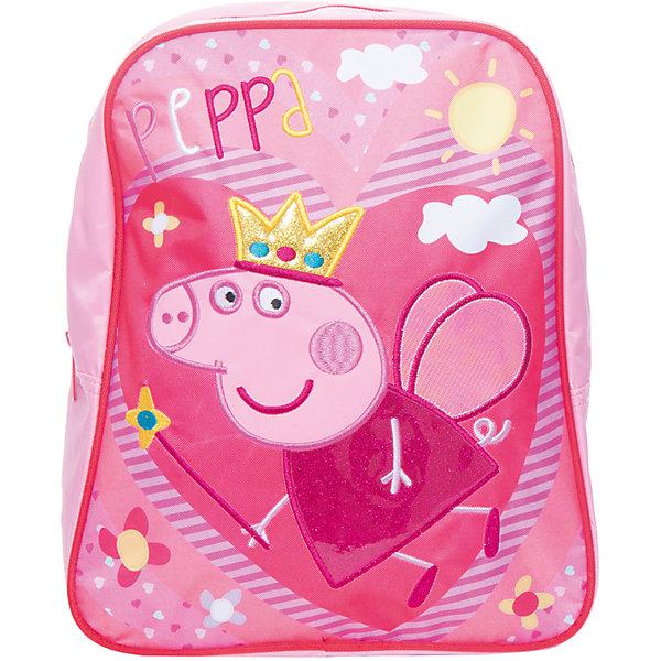 Дошкольный рюкзак Свинка ПеппаСвинка Пеппа<br>Яркий и стильный рюкзачок ТМ «Свинка Пеппа» идеально подойдет вашей маленькой моднице. Удобный и вместительный, он обязательно пригодится для прогулок, занятий в кружке или спортивной секции. В его внутреннем отделении на молнии легко поместятся все необходимые вещи, в том числе предметы формата А4. Мягкие регулируемые лямки берегут плечи малышки от натирания. Удобная ручка помогает носить аксессуар в руке или размещать на вешалке. Изделие изготовлено из износостойкой, водонепроницаемой ткани, поэтому оно будет служить долгое время, сохраняя положенные в него вещи сухими даже в дождливую погоду. Рюкзачок декорирован блестящей аппликацией PVC в виде Свинки Пеппы, вышивкой и ярким принтом (сублимированной печатью). Размер: 30х25х12,5 см.<br><br>Ширина мм: 315<br>Глубина мм: 265<br>Высота мм: 20<br>Вес г: 250<br>Возраст от месяцев: 72<br>Возраст до месяцев: 96<br>Пол: Женский<br>Возраст: Детский<br>SKU: 4635152