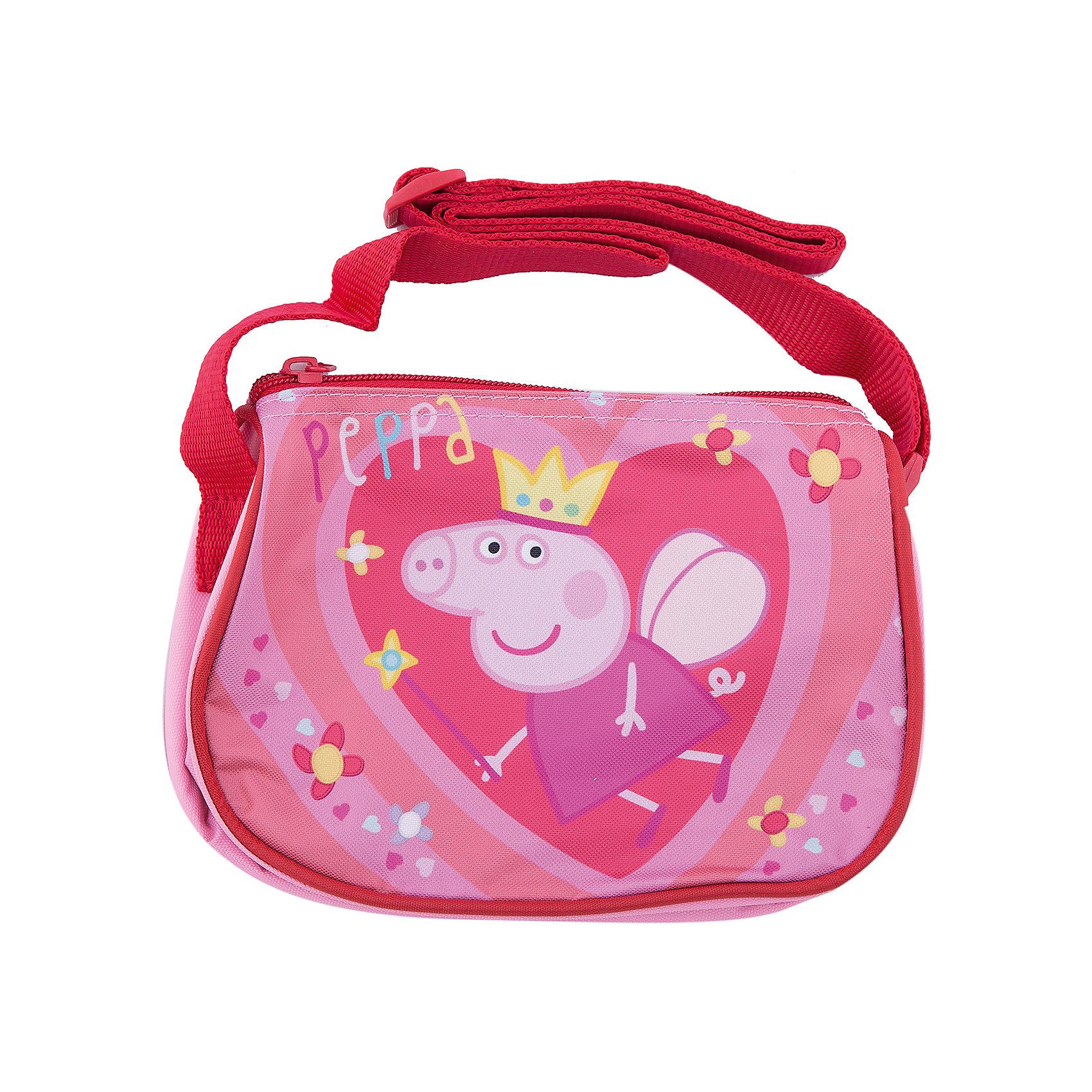 Сумка Королева, Свинка ПеппаДетские сумки<br>Очаровательная миниатюрная сумочка «Свинка Пеппа» обязательно понравится вашей маленькой моднице. С таким милым аксессуаром можно ходить в гости или на прогулку, а также устраивать множество увлекательных игр, всегда оставаясь в центре восхищенного внимания. Сумочка имеет одно отделение на молнии, в которое можно положить любимые игрушки или необходимые на прогулке вещи. Благодаря регулируемой лямке для ношения на плече, аксессуар подходит девочкам разного роста. Изделие декорировано привлекательным принтом (сублимированной печатью). Размер: 19х15х6 см.<br><br>Ширина мм: 200<br>Глубина мм: 175<br>Высота мм: 20<br>Вес г: 107<br>Возраст от месяцев: 36<br>Возраст до месяцев: 84<br>Пол: Женский<br>Возраст: Детский<br>SKU: 4635157