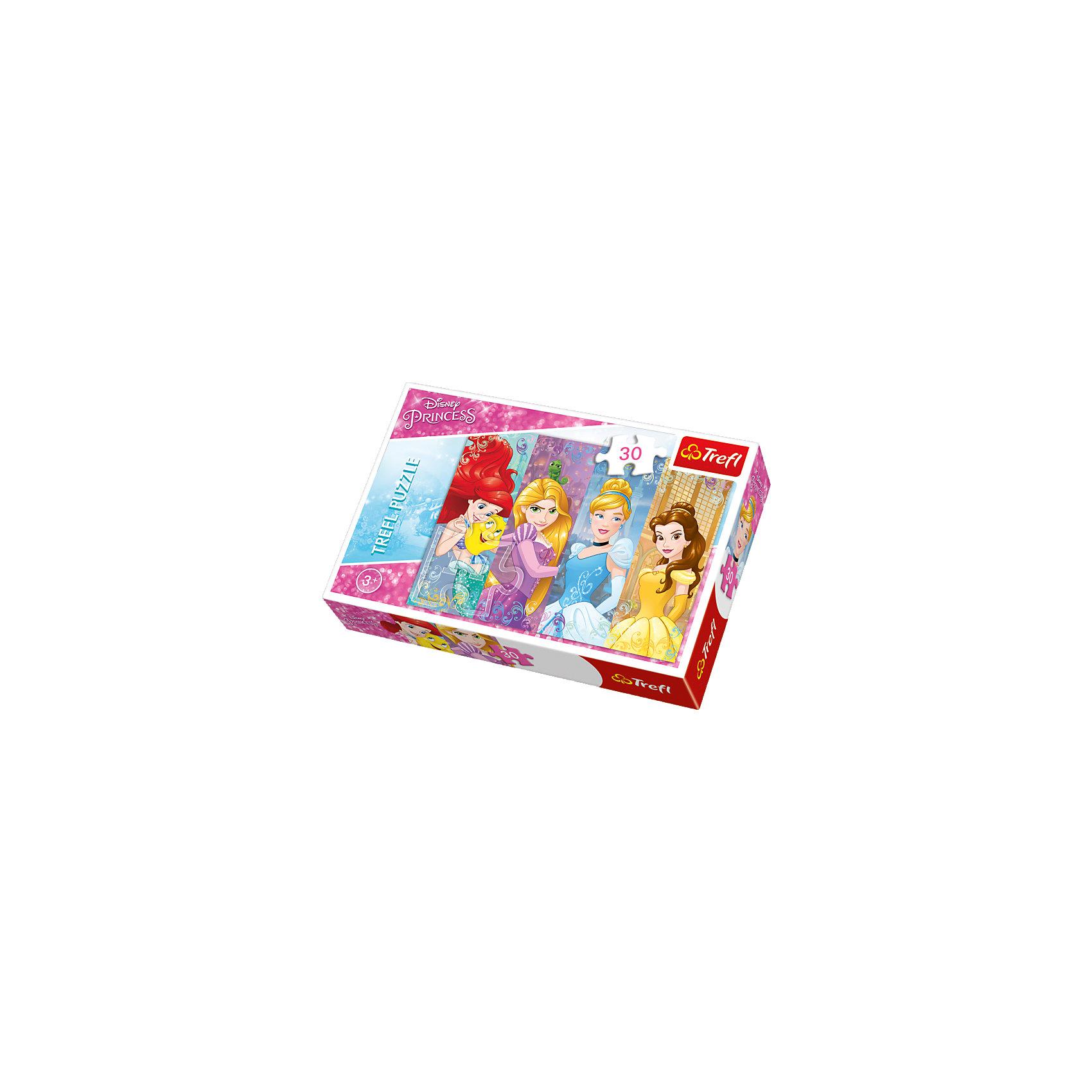 Пазл Сказочные принцессы, 30 деталей, TreflПринцессы Дисней<br>Характеристики товара:<br><br>• возраст от 5 лет;<br>• материал: картон;<br>• в комплекте: 30 элементов;<br>• размер пазла 20х27 см;<br>• размер упаковки 21х15х4 см;<br>• вес упаковки 195 гр.;<br>• страна производитель: Польша.<br><br>Пазл «Сказочные принцессы» Trefl — пазл с изображениями 4 принцесс Дисней: Русалочки Ариэль, Рапунцель, Золушки и Бэлль. Собирая пазл, у малышей развиваются воображение, фантазия, усидчивость, мышление. Все элементы выполнены из качественных безопасных материалов с антибликовым покрытием.<br><br>Пазл «Сказочные принцессы» Trefl можно приобрести в нашем интернет-магазине.<br><br>Ширина мм: 215<br>Глубина мм: 144<br>Высота мм: 40<br>Вес г: 168<br>Возраст от месяцев: 48<br>Возраст до месяцев: 72<br>Пол: Женский<br>Возраст: Детский<br>Количество деталей: 30<br>SKU: 4635297