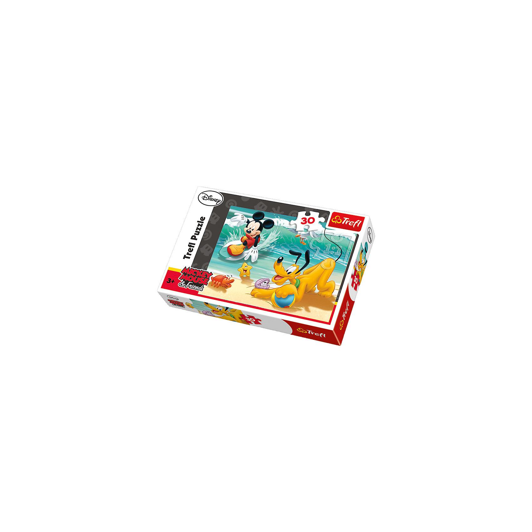 Микки и Плуто на пляже, 30 элементов, TreflПазлы для малышей<br>Забавная история о псе Микки Мауса по кличке Плуто изображена на ярком пазле Микки и Плуто на пляже. Необыкновенные приключения собаки и его друзей обязательно привлекут маленьких мечтателей. Плуто и Микки веселятся и играют с яркими морскими обитателями. Что за этим стоит, просто веселая игра или хитрый план Плуто, который во время секретных заданий становится настоящим псом-ищейкой, остается придумать самим малышам во время складывание пазла. Красочная картинка не только порадует Вашего малыша, но и обязательно принесет пользу для развития внимания, памяти, а также мелкой моторики рук. <br>Детали выполнены из качественного картона. Картинка состоит из 30 элементов. <br>Рекомендуемый возраст: от 3 лет.<br><br>Ширина мм: 215<br>Глубина мм: 146<br>Высота мм: 40<br>Вес г: 177<br>Возраст от месяцев: 48<br>Возраст до месяцев: 72<br>Пол: Унисекс<br>Возраст: Детский<br>Количество деталей: 30<br>SKU: 4635299