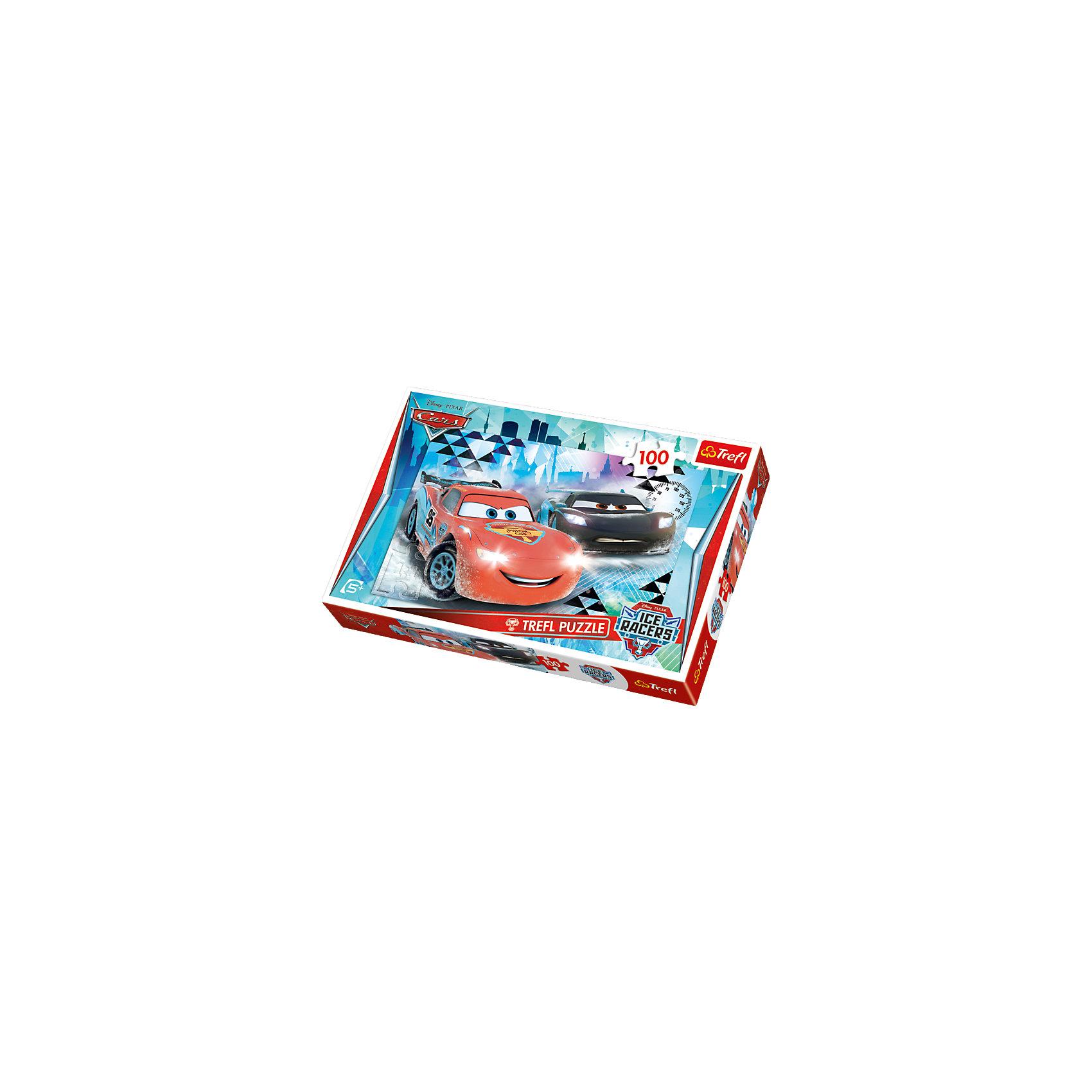 Пазл Ледяное приключение, 100 элементов, TreflПазлы для малышей<br>Подарок мальчику, который увлекается автомобилями - детский пазл Ледяное приключение. Яркая картинка, где изображены любимые герои популярного мультфильма Тачки не может остаться незамеченной. Молния МакКуин вместе со своим напарником мчится на встречу приключениям. У ребенка есть возможность придумать свою историю и ее финал. Пазл - прекрасная развивающая игра, которая помогает развить фантазию, память и логику, а также очень полезна для мелкой моторики рук. Во время складывания картинки, Ваш ребенок проведет время с пользой, так как подобное занятие отлично помогает добиться усидчивости. Собранную картинку можно повесить на стенку, чтобы любоваться ей. <br>Детали выполнены из качественного картона. Картинка состоит из 100 деталей. <br>Рекомендуемый возраст: от 5 лет.<br><br>Ширина мм: 291<br>Глубина мм: 195<br>Высота мм: 43<br>Вес г: 316<br>Возраст от месяцев: 72<br>Возраст до месяцев: 96<br>Пол: Мужской<br>Возраст: Детский<br>Количество деталей: 100<br>SKU: 4635304