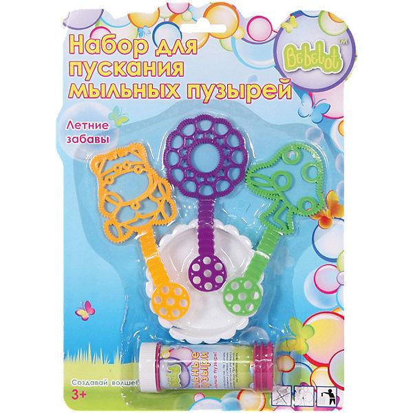 Набор для пускания мыльных пузырей Летние забавы, BebelotМыльные пузыри<br>С этим замечательным набором ваш ребенок сможет делать самые невероятные мыльные пузыри! Нужно лишь вылить мыльный раствор в емкость, опустить туда формочки, взмахнуть рукой - и мыльное волшебство начнется! Все детали набора выполнены из высококачественных безопасных для детей материалов.<br><br>Дополнительная информация:<br><br>- Материал: пластик.<br>- Размер:<br>- Комплектация: 3 формочки, чаша, бутылочка с раствором. <br>- Объем бутылочки: 40 мл.<br><br>Набор для пускания мыльных пузырей Летние забавы, Bebelot, можно купить в нашем магазине.<br>Ширина мм: 30; Глубина мм: 195; Высота мм: 280; Вес г: 117; Возраст от месяцев: 36; Возраст до месяцев: 72; Пол: Унисекс; Возраст: Детский; SKU: 4635556;