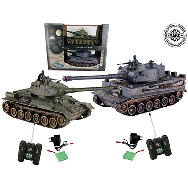 Набор Т34 против Тигра, 1:24, на радиоуправлении, YakoВоенный транспорт<br>С этим замечательным набором ваш ребенок сможет устроить настоящее танковое сражение! Игрушки являются точными копиями танков Т34 и Тигр выполненными в масштабе 1:24. Танки оснащены пушками с инфракрасным излучателем, могут двигаться во все стороны, башни поворачиваются на 320 градусов. Танки имитируют откат во время выстрела из пушки. Угол наклона пушки регулируется с пульта управления. Преодолевают подъём под уклоном 45 градусов. Имеется индикатор уровня жизни. Принцип действия индикатора: при первом попадании гаснет первая лампа индикатора, перестают работать колёса с левой стороны, при втором - гаснет вторая лампа индикатора, перестают работать колёса справой стороны, при третьем попадании раздаётся звук взрыва и танк перестаёт работать. Через 10 секунд работа танка восстанавливается. Игрушки выполнены из высококачественных прочных материалов безопасных для детей.<br><br>Дополнительная информация:<br><br>- Материал: пластик, металл.<br>- Масштаб: 1:24.<br>- Комплектация: 2 танка, 2 пульта ДУ, аккумулятор, зарядное устройство.<br>- Радиус передачи ИК сигнала: 8 м.<br>- Частота 27 МГц (А/С) .<br>- Скорость: 6 км/ч.<br>- Радиус обстрела: 12 м. <br>- Время работы от аккумулятора: 15-20 минут.<br>- Время зарядки аккумулятора танка: 4 часа.<br>- Индикатор уровня жизни.<br>- Функция автоотключения. <br>- Демо режим.<br>- Элемент питания для танков - 2 аккумулятора Ni Cd 600 mAh 4,8V (в комплекте).<br>- Элемент питания для пультов ДУ - 2 батарейки типа АА (нет в комплекте). <br><br>Набор Т34 против Тигра, 1:24, на радиоуправлении, Yako, можно купить в нашем магазине.<br>Ширина мм: 420; Глубина мм: 320; Высота мм: 140; Вес г: 1500; Возраст от месяцев: 36; Возраст до месяцев: 120; Пол: Мужской; Возраст: Детский; SKU: 4636489;