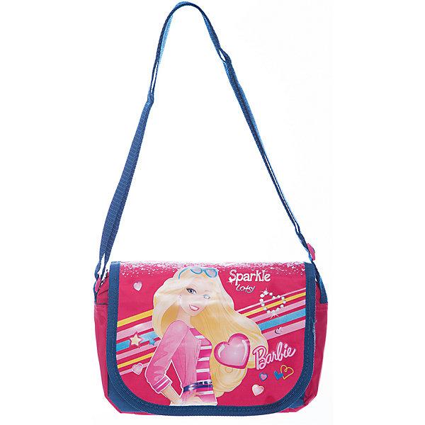 Сумка через плечо, BarbieДетские сумки<br>Сумка через плечо Barbie - комфортная и стильная сумочка, с которой Вашей девочке будет приятно ходить и на прогулку, и в детский сад. Сумка выполнена из водоотталкивающего прочного и качественного материала. Имеет привлекательный дизайн с яркой розово-синей расцветкой и изображением очаровательной красавицы Барби. Сумочка закрывается откидным клапаном на липучках, внутри одно просторное отделение на молнии, куда можно положить все необходимые принадлежности и аксессуары. Для ношения через плечо предусмотрен широкий регулируемый ремешок.  <br><br>Дополнительная информация:<br><br>- Материал: текстиль.<br>- Размер: 22 х 5,5 х 15 см.<br>- Вес: 190 гр.<br><br>Сумку через плечо Barbie, 22*15*5,5 см., Играем Вместе, можно купить в нашем интернет-магазине.<br><br>Ширина мм: 676<br>Глубина мм: 324<br>Высота мм: 4<br>Вес г: 190<br>Возраст от месяцев: 48<br>Возраст до месяцев: 96<br>Пол: Женский<br>Возраст: Детский<br>SKU: 4637661