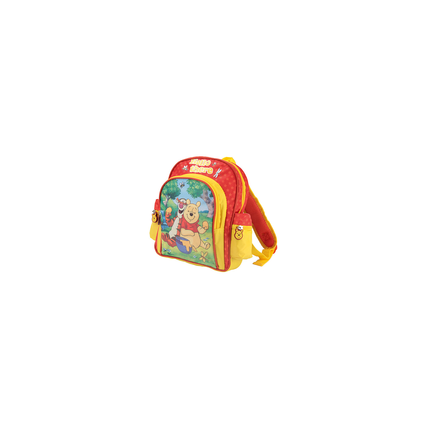 Дошкольный рюкзак Винни ПухДошкольный рюкзак Винни Пух - удобный практичный рюкзак, который замечательно подойдет для прогулок, поездок и путешествий. Рюкзак выполнен из прочного долговечного материала. Привлекательный дизайн с красно-желтой расцветкой и красочным изображением популярного медвежонка из диснеевских мультфильмов обязательно понравится Вашему ребенку. Застежки на молниях выполнены в виде головы медвежонка. Широкие удобные лямки снижают нагрузку на позвоночник, регулируются по длине, есть текстильная ручка для переноски в руках. Рюкзак застегивается на застежку-молнию, внутри одно вместительное отделение. Имеется дополнительный большой карман на молнии на лицевой стороне и два накладных кармана на молнии по бокам.<br><br>Дополнительная информация:<br><br>- Материал: текстиль. <br>- Размер рюкзака: 28 х 26 х 9 см.<br>- Размер упаковки: 29 х 4 х 27 см.   <br>- Вес: 0,33 кг.<br><br>Рюкзак дошкольный Винни Пух 28*26*9 см., Играем Вместе, можно купить в нашем интернет-магазине.<br><br>Ширина мм: 841<br>Глубина мм: 729<br>Высота мм: 16<br>Вес г: 290<br>Возраст от месяцев: 48<br>Возраст до месяцев: 96<br>Пол: Унисекс<br>Возраст: Детский<br>SKU: 4637664