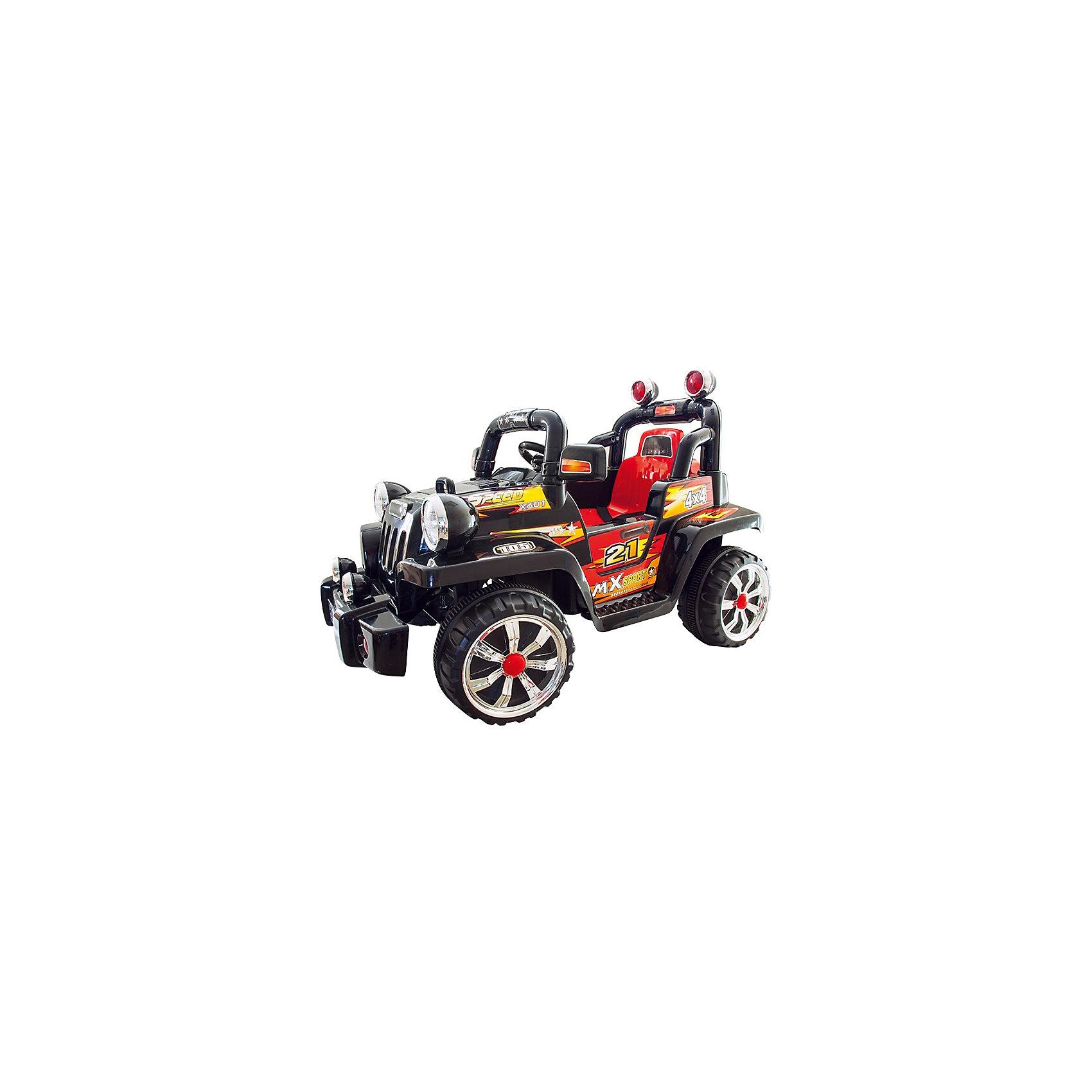Электромобиль Внедорожник-1106A, ZilmerЭлектромобили<br>Электромобиль Zilmer Внедорожник-1106A на аккумуляторной батарее со световыми и звуковыми эффектами станет отличным подарком для ребёнка от 3 до 7 лет! Электромобиль позволит почувствовать себя настоящим водителем!<br>Характеристики:<br>Движение вперёд и назад, повороты влево и вправо,<br>Аккумуляторная батарея: 6В 7 А/ч,<br>Скорость: 2-3 км/ч,<br>Максимальная нагрузка: 30 кг,<br>Время использования без подзарядки: 1-2 часа,<br>Световые и звуковые эффекты.<br>Комплектация и описание товара могут незначительно отличаться от указанных на сайте и в инструкции.<br><br>Ширина мм: 1020<br>Глубина мм: 670<br>Высота мм: 455<br>Вес г: 16700<br>Возраст от месяцев: 36<br>Возраст до месяцев: 72<br>Пол: Унисекс<br>Возраст: Детский<br>SKU: 4637754