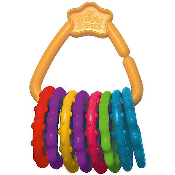 Развивающая игрушка «Веселые колечки», Bright StartsИгрушки для новорожденных<br>Развивающая игрушка Веселые колечки, Bright Starts, непременно привлечет внимание Вашего малыша. Игрушка выполнена в виде связки ярких разноцветных колечек, нанизанных на удобный пластиковый держатель. Колечки идеально подходят в качестве прорезывателя: благодаря мягкому материалу они не травмируют десна малыша при жевании, а ребристая поверхность оказывает массажное действие. Игрушку можно прикреплять к коляске, развивающему коврику или переноске. Она изготовлена из высококачественных экологически чистых и гипоаллергенных материалов. Развивает мелкую моторику, тактильные ощущения и цветовосприятие. <br><br>Дополнительная информация:<br><br>- В комплекте: 8 колечек, 1 держатель.<br>- Материал: мягкий полимер, пластик.<br>- Размер упаковки: 15 х 9 х 12,5 см.<br><br>Развивающую игрушку Веселые колечки, Bright Starts, можно купить в нашем интернет-магазине.<br>Ширина мм: 119; Глубина мм: 193; Высота мм: 53; Вес г: 128; Возраст от месяцев: 0; Возраст до месяцев: 36; Пол: Унисекс; Возраст: Детский; SKU: 4637839;
