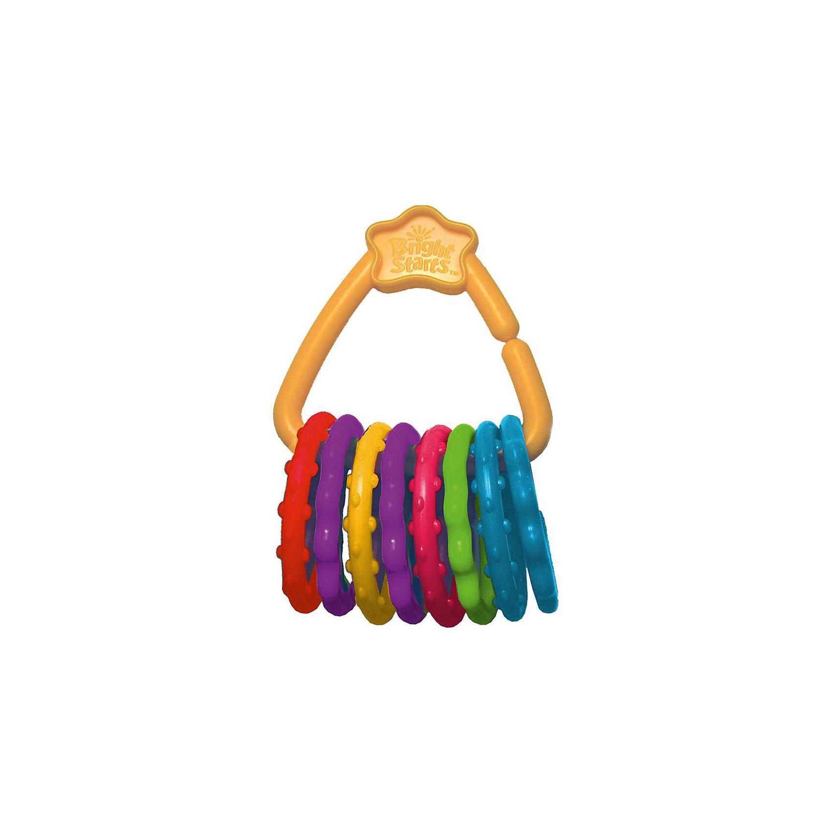Развивающая игрушка «Веселые колечки», Bright StartsРазвивающая игрушка Веселые колечки, Bright Starts, непременно привлечет внимание Вашего малыша. Игрушка выполнена в виде связки ярких разноцветных колечек, нанизанных на удобный пластиковый держатель. Колечки идеально подходят в качестве прорезывателя: благодаря мягкому материалу они не травмируют десна малыша при жевании, а ребристая поверхность оказывает массажное действие. Игрушку можно прикреплять к коляске, развивающему коврику или переноске. Она изготовлена из высококачественных экологически чистых и гипоаллергенных материалов. Развивает мелкую моторику, тактильные ощущения и цветовосприятие. <br><br>Дополнительная информация:<br><br>- В комплекте: 8 колечек, 1 держатель.<br>- Материал: мягкий полимер, пластик.<br>- Размер упаковки: 15 х 9 х 12,5 см.<br><br>Развивающую игрушку Веселые колечки, Bright Starts, можно купить в нашем интернет-магазине.<br><br>Ширина мм: 119<br>Глубина мм: 193<br>Высота мм: 53<br>Вес г: 128<br>Возраст от месяцев: 0<br>Возраст до месяцев: 36<br>Пол: Унисекс<br>Возраст: Детский<br>SKU: 4637839
