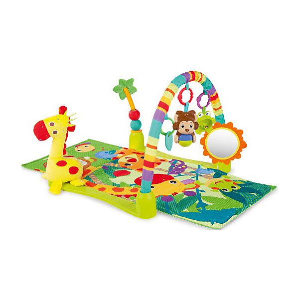 Развивающий коврик «Джунгли», Bright StartsРазвивающие коврики<br>Красочный, развивающий коврик Джунгли, Bright Starts, надолго займет Вашего малыша и будет способствовать его физическому и интеллектуальному развитию. Коврик выполнен в ярком привлекательном дизайне со множеством занимательных для ребенка элементов. Ползая по<br>коврику, малыш с интересом будет рассматривать красочные изображения забавных африканских животных и тянуться за висящими на дуге яркими игрушками. В комплект входят большой плюшевый жираф, которого можно брать с собой в кроватку, большая пальма с передвигающимися шариками, безопасное зеркальце в виде солнышка, прорезыватель для зубов в виде листочка, музыкальная обезьянка с шариком (воспроизводит забавные звуки и мелодии) и лягушка-погремушка с бусинами в животе. Всеми игрушками можно играть отдельно, они легко крепятся к коляске или переноске.<br><br>Для детей постарше дуги можно снять и использовать коврик как удобную мягкую подстилку для игр на полу. Коврик компактно складывается, не занимает много места и удобен для переноски. Способствует развитию у малыша тактильных ощущений, навыков хватания и удерживания предметов в руке, лежа на животе, малыш учится держать голову. Можно стирать в стиральной машине.<br><br>Дополнительная информация:<br><br>- В комплекте: коврик, жираф, пальма, дуга, безопасное зеркало, 3 игрушки.<br>- Материал: текстиль, пластик.<br>- Требуются батарейки: 2 х AA.<br>- Размер коврика: 61 х 102 х 46 см.<br>- Размер упаковки: 61 х 9 х 53,5 см.<br>- Вес: 2,12 кг. <br><br>Развивающий коврик Джунгли, Bright Starts, можно купить в нашем интернет-магазине.<br><br>Ширина мм: 612<br>Глубина мм: 539<br>Высота мм: 122<br>Вес г: 2117<br>Возраст от месяцев: 0<br>Возраст до месяцев: 36<br>Пол: Унисекс<br>Возраст: Детский<br>SKU: 4637840