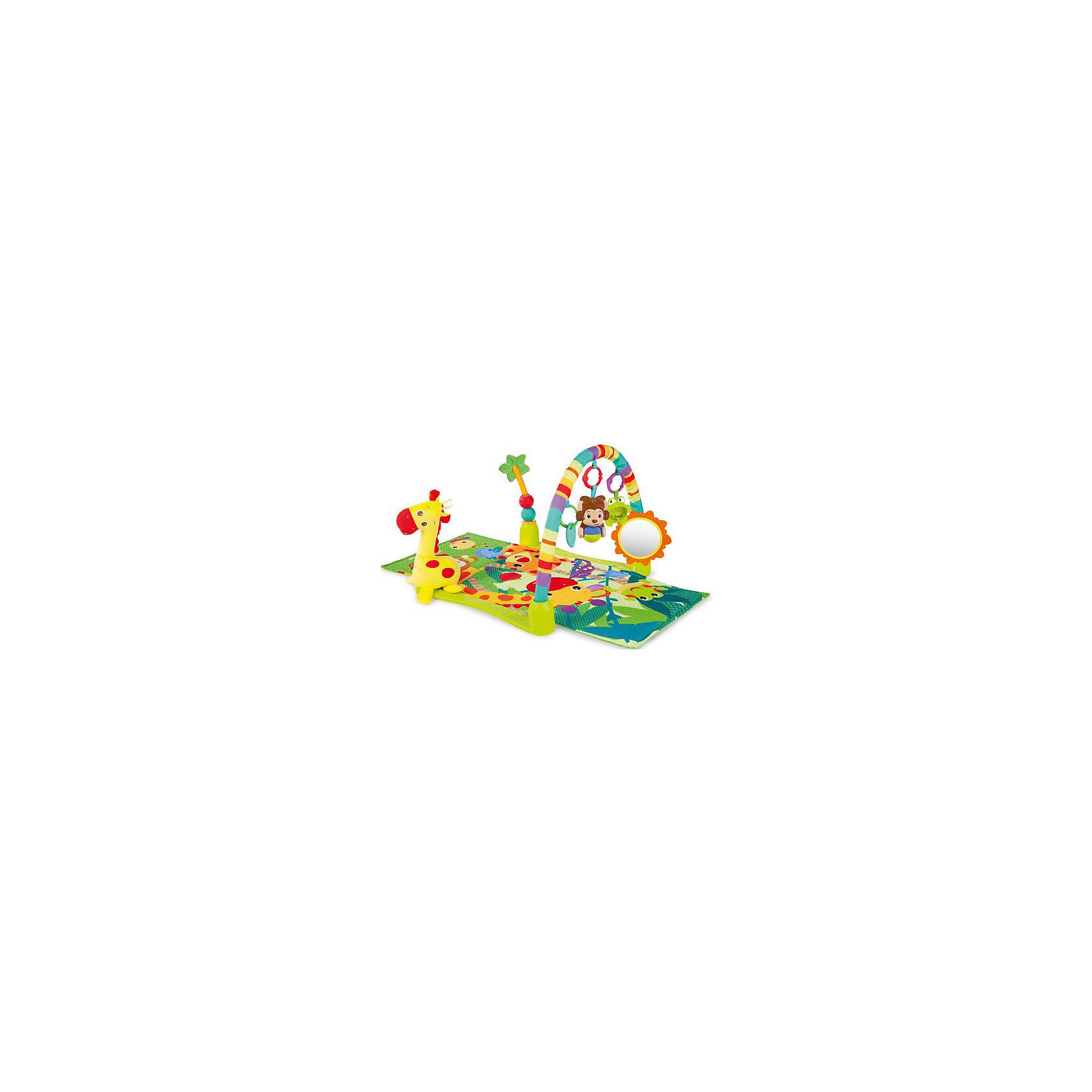 Развивающий коврик «Джунгли», Bright StartsКрасочный, развивающий коврик Джунгли, Bright Starts, надолго займет Вашего малыша и будет способствовать его физическому и интеллектуальному развитию. Коврик выполнен в ярком привлекательном дизайне со множеством занимательных для ребенка элементов. Ползая по<br>коврику, малыш с интересом будет рассматривать красочные изображения забавных африканских животных и тянуться за висящими на дуге яркими игрушками. В комплект входят большой плюшевый жираф, которого можно брать с собой в кроватку, большая пальма с передвигающимися шариками, безопасное зеркальце в виде солнышка, прорезыватель для зубов в виде листочка, музыкальная обезьянка с шариком (воспроизводит забавные звуки и мелодии) и лягушка-погремушка с бусинами в животе. Всеми игрушками можно играть отдельно, они легко крепятся к коляске или переноске.<br><br>Для детей постарше дуги можно снять и использовать коврик как удобную мягкую подстилку для игр на полу. Коврик компактно складывается, не занимает много места и удобен для переноски. Способствует развитию у малыша тактильных ощущений, навыков хватания и удерживания предметов в руке, лежа на животе, малыш учится держать голову. Можно стирать в стиральной машине.<br><br>Дополнительная информация:<br><br>- В комплекте: коврик, жираф, пальма, дуга, безопасное зеркало, 3 игрушки.<br>- Материал: текстиль, пластик.<br>- Требуются батарейки: 2 х AA.<br>- Размер коврика: 61 х 102 х 46 см.<br>- Размер упаковки: 61 х 9 х 53,5 см.<br>- Вес: 2,12 кг. <br><br>Развивающий коврик Джунгли, Bright Starts, можно купить в нашем интернет-магазине.<br><br>Ширина мм: 612<br>Глубина мм: 539<br>Высота мм: 122<br>Вес г: 2117<br>Возраст от месяцев: 0<br>Возраст до месяцев: 36<br>Пол: Унисекс<br>Возраст: Детский<br>SKU: 4637840