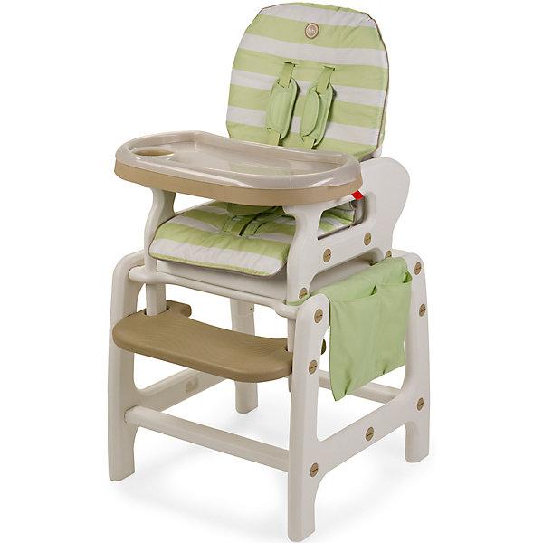 Стульчик-трансформер Oliver V2, Happy Baby, зеленыйСтульчики для кормления<br>Стульчик-трансформер Oliver V2, Happy Baby, обеспечит комфорт и безопасность Вашего малыша во время кормления. Оригинальная конструкция позволяет использовать стульчик в 3-х положениях, в зависимости от возраста и потребностей малыша: 1. высокий стульчик для кормления малыша, 2. в качестве кресла-качалки и 3. как парту, за которой малыш будет учиться, рисовать и играть. У стульчика удобные сиденье и спинка, пятиточечные ремни безопасности надёжно удерживают ребёнка и регулируются по росту. Спинка с 3 положениями наклона, в том числе полулежа, и подставка для ножек создают малышу дополнительный комфорт. Удобная столешница со съемным подносом легко снимается и регулируется по глубине в 6 положениях. Сбоку стульчика имеется вместительный тканевый карман для детских принадлежностей и мелочей. В комплект входят дуги для качания, которые легко присоединяются к ножкам стульчика, превращая его в комфортное кресло-качалку.<br>Для малышей постарше, которые уже могут есть самостоятельно, поднос можно снять и превратить конструкцию в обычный стул, чтобы ребенок мог есть за общим столом. Когда ребенок подрастет, высокий стульчик легко трансформируется в компактный маленький стульчик и столик, за которым малыш сможет есть как взрослый, рисовать или играть в настольные игры. Стульчик и столик не имеют острых углов, устойчивы к ударам и падениям и полностью безопасны для малыша. Съемное тканевое покрытие из водонепроницаемого материала легко снимать и чистить. Подходит для детей в возрасте от 6 месяцев, максимальный вес - 18 кг.<br><br>Дополнительная информация:<br><br>- Цвет: зеленый.<br>- Материал: пластик, текстиль.<br>- Ширина сиденья: 35 см.<br>- Размеры спального места: 80 х 36 см.<br>- Размеры стульчика в разложенном виде: 67 х 58 х 103 см.<br>- Размеры в упаковке: 60 х 40 х 53 см.<br>- Вес: 8,2 кг.<br><br>Стульчик-трансформер Oliver V2, Happy Baby, зеленый, можно купить в нашем интернет-магазине.<