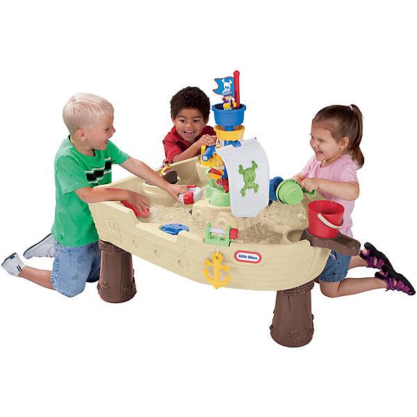 Игровой стол Пиратский корабль, Little TikesИграем в песочнице<br>Игровой стол Пиратский корабль, Little Tikes (Литтл Тайкс), стилизованный под пиратский корабль, подойдет для веселой игры с водой активным детям, увлекающимся пиратской темой и любящим приключения! Центральная мачта –  это фонтан, подача воды наверх осуществляется с помощью насоса. Игровой стол предлагает множество игр с водой одновременно для 4-5 детей:<br>-Якорь можно поднимать и опускать, если вращать ручку<br>-У игрушечной акулы при нажатии из пасти вылетает струя воды<br>-Игрушечных пиратов можно покатать в лодочке, посадить на мачту, за штурвал, спустить с водяной горки или поместить в спасательный круг<br>-С помощью специальных каруселей можно создать ток воды внутри корабля, и предметы начнут двигаться в воде<br>-Водная пушка дает возможность целиться и стрелять водой<br>-После игры воду легко слить – для этого предусмотрен специальный клапан в нижней части стола<br><br>Комплектация: ведерко, ковшик, ковшик-сито, брызгалка в виде синей акулы, фигурки 2 пиратов, лодочка, спасательный круг, капитанский мостик со штурвалом, который вращается, парус и флаг с пиратской символикой, поднимающийся якорь, водяная пушка, фонтан на мачте<br><br>Дополнительная информация:<br>-Вес в упаковке: 8,9 кг<br>-Размеры в упаковке:98х23х74 см<br>-Материалы: пластик<br>-Размеры столика в сборе: 102x71x79 см<br>-Для работы нужны батарейки 4хС1,5V (в комплект не входят)<br><br>Игровой стол «Пиратский корабль» – отличный вариант для развлечения детей летом на свежем воздухе, который надолго увлечет активных малышей!<br><br>Игровой стол Пиратский корабль, Little Tikes (Литтл Тайкс) можно купить в нашем магазине.<br><br>Ширина мм: 229<br>Глубина мм: 737<br>Высота мм: 991<br>Вес г: 9170<br>Возраст от месяцев: 24<br>Возраст до месяцев: 84<br>Пол: Унисекс<br>Возраст: Детский<br>SKU: 4639209