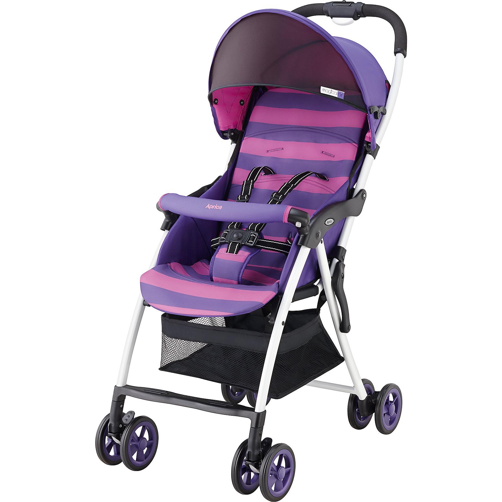 Прогулочная коляска Aprica Magical Air, фиолетовыйПрогулочные коляски<br>Супер легкая коляска прекрасно подойдет для отпуска, прогулок и шопинга.<br><br>Дополнительная информация:<br><br>Уникально малый вес – всего 2,8 кг<br>Коляска  легко складывается и раскладывается одним нажатием кнопки<br>Очень компактна в сложенном виде<br>Прочная рама дает возможность длительного использования<br>Солнцезащитный козырек защищает от УФ лучей<br>Удобный съемный бампер<br>Просторное, широкое сидение <br>Сдвоенные пары колес<br>верхняя часть матрасика на молнии (легко снимается и стирается при 30 град. С)<br>3D колеса увеличенного диаметра и ширины<br>Комплектация: Прогулочный блок, Рама, 5-точечные внутренние ремни<br>Вес ребенка: до 15 кг<br>Тип складывания«книжка»<br>Регулировка спинки: есть, 118-135°<br>Горизонтальное положение спинки: нет<br>Перекидная ручка: нет<br>Внутренние ремни: есть, 5-точечные<br>Съемные подушки: да, можно стирать<br>Корзина для вещей сетчатая<br>Размеры в разложенном виде (Ш?Д?В)46?80?97 см<br>Размеры в сложенном виде (Ш?Д?В)46?27?97 см<br>Внутренняя ширина сидения 32 см<br><br>Прогулочную коляску Magical Air, Aprica, фиолетовый можно купить в нашем магазине.<br><br>Ширина мм: 970<br>Глубина мм: 470<br>Высота мм: 270<br>Вес г: 4900<br>Цвет: фиолетовый<br>Возраст от месяцев: 6<br>Возраст до месяцев: 36<br>Пол: Женский<br>Возраст: Детский<br>SKU: 4639432